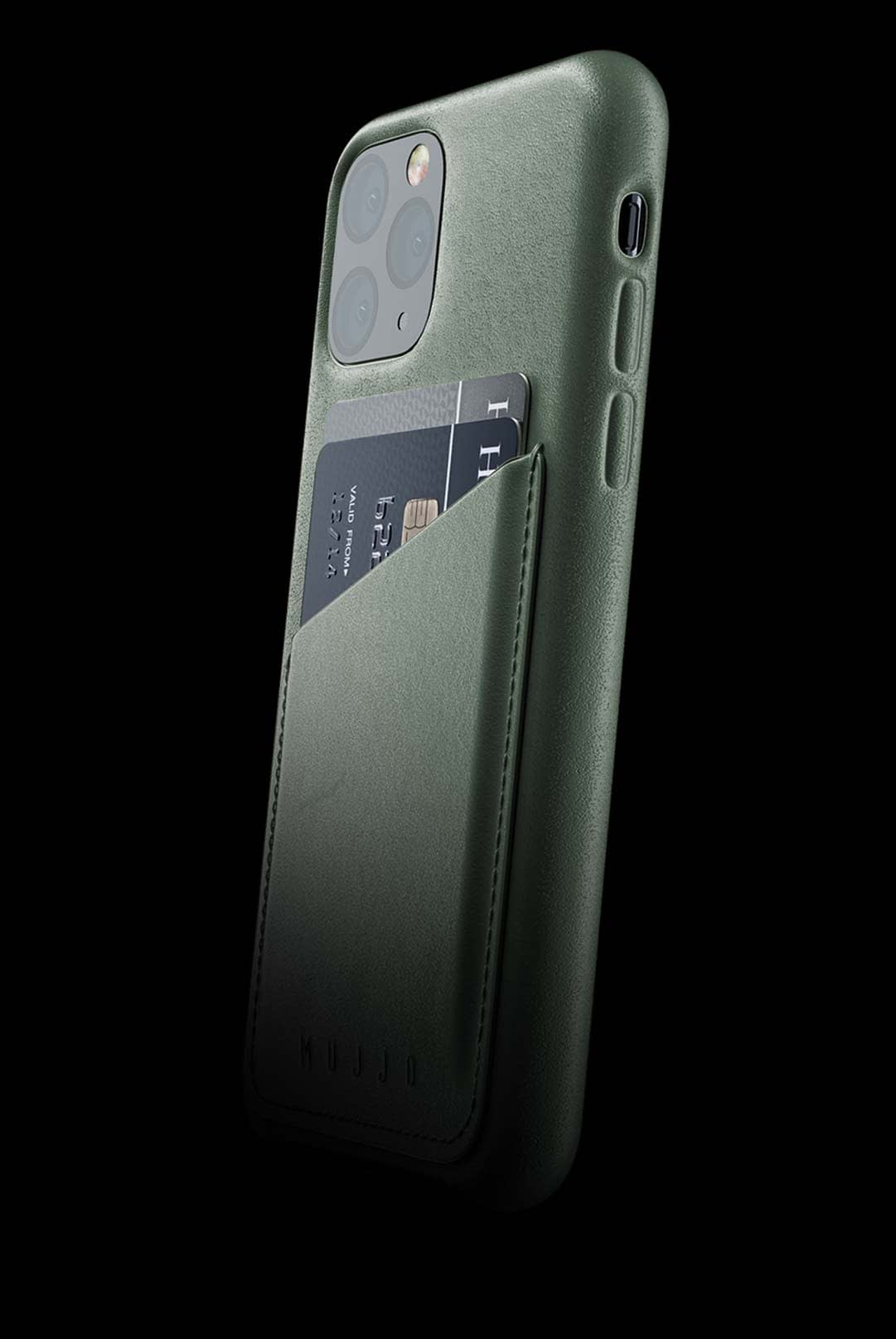 full leather wallet case for iphone 11 pro slate green 002