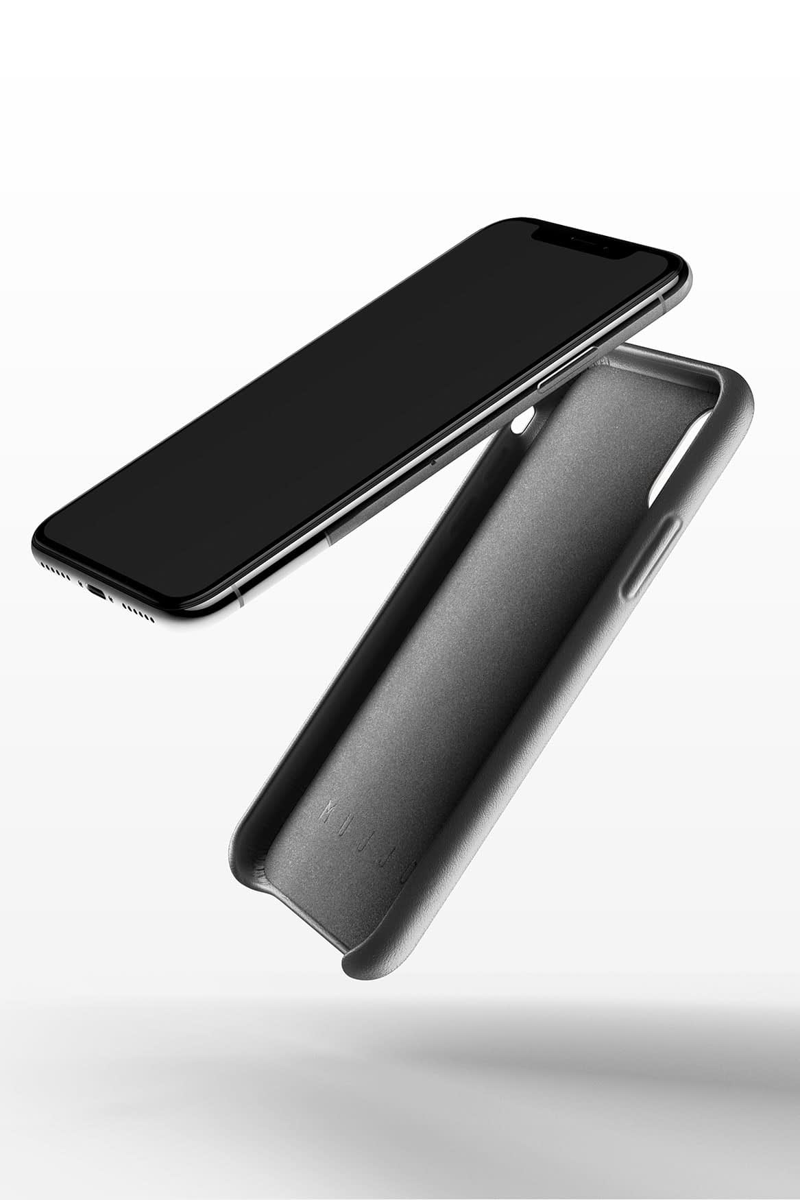 Full leather wallet case for iPhone X Gray 02