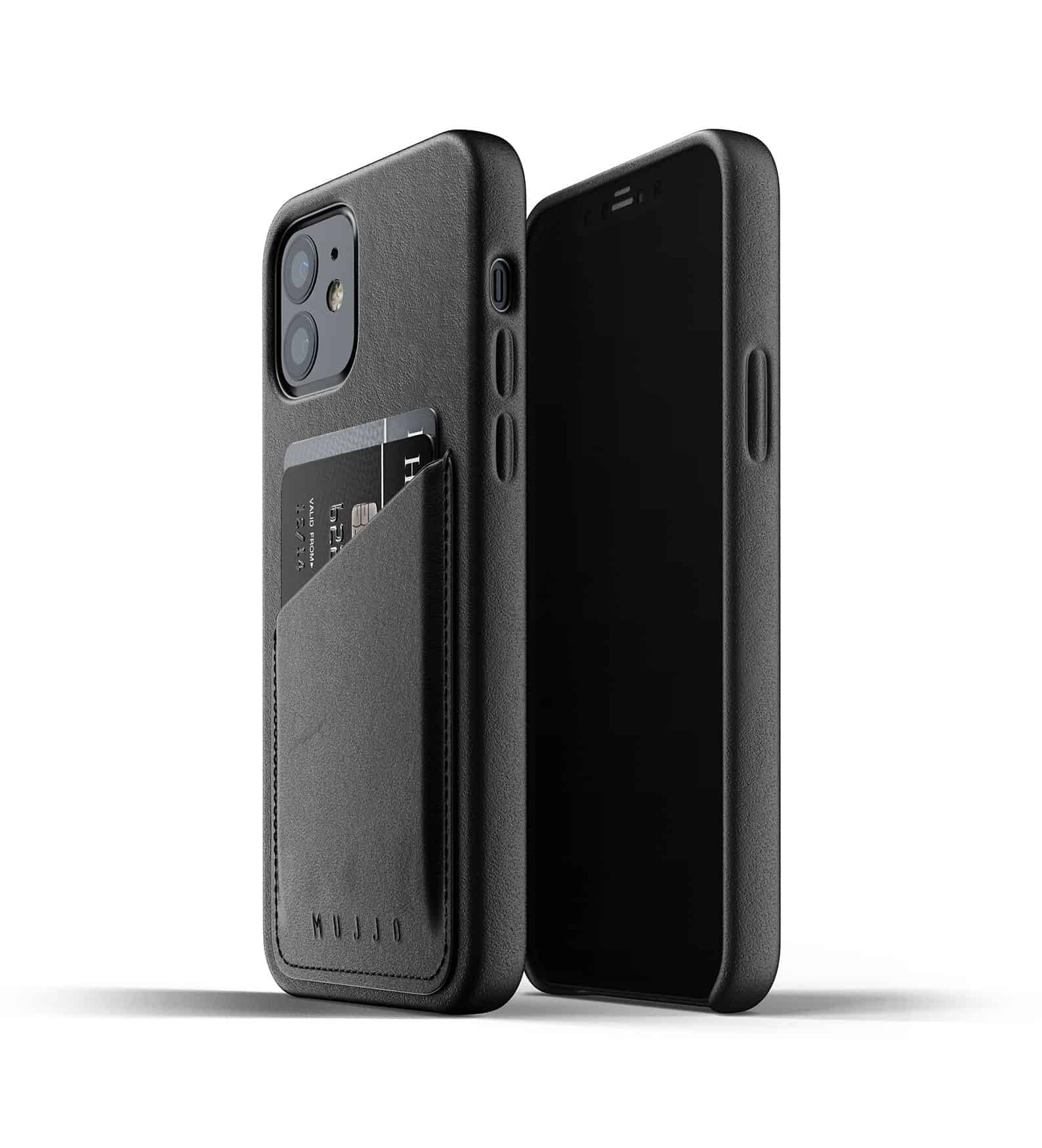 Full Leather Wallet Case for iPhone 12 Black Thumbnail 03