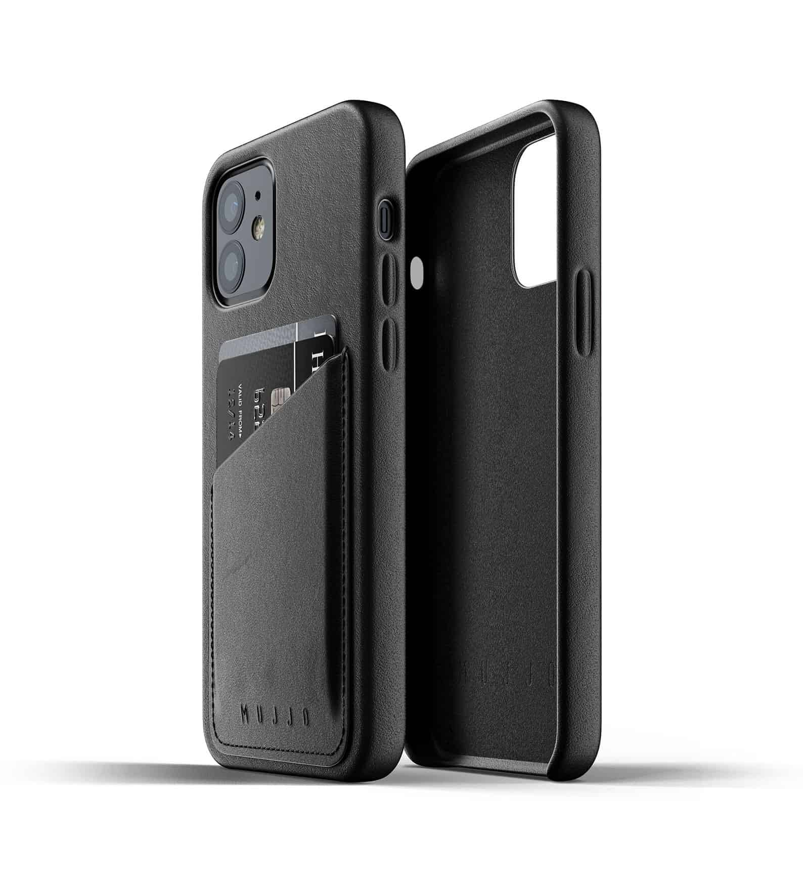 Full Leather Wallet Case for iPhone 12 Black Thumbnail 04