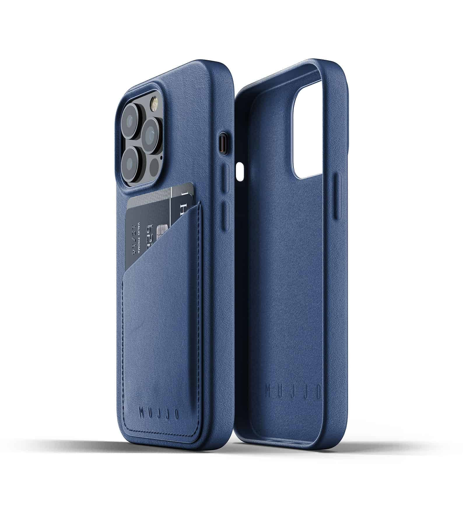 Full Leather Wallet Case for iPhone 13 Pro Monaco Blue Thumbnail 02
