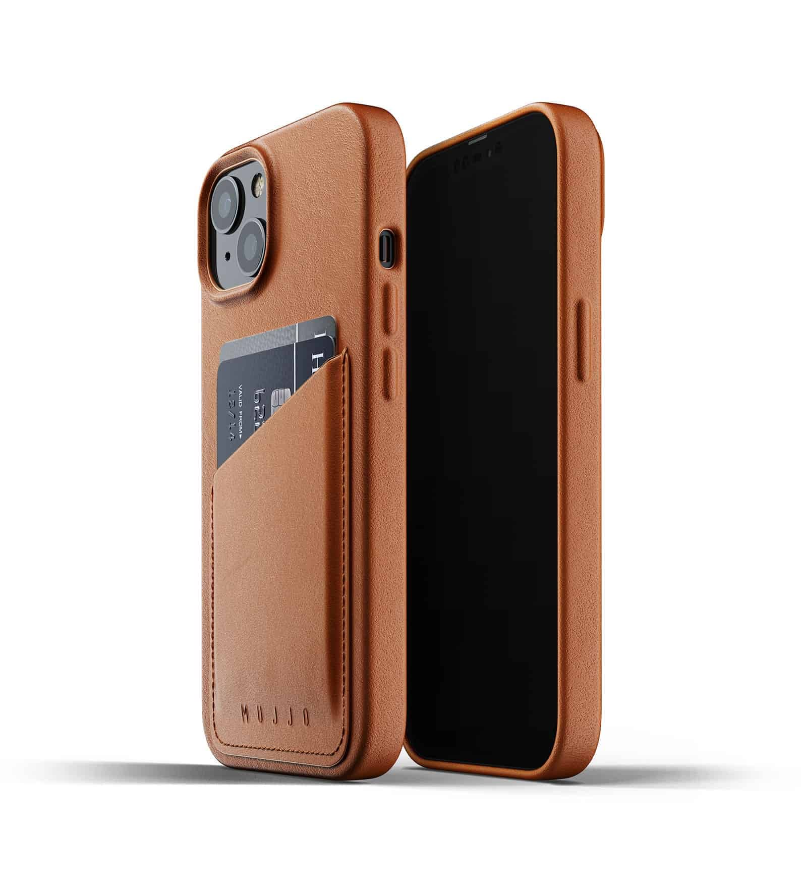 Full Leather Wallet Case for iPhone 13 Tan Thumbnail 01