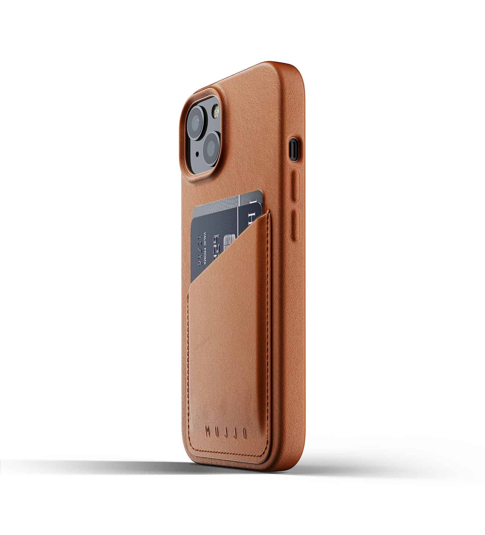 Full Leather Wallet Case for iPhone 13 Tan Thumbnail 03