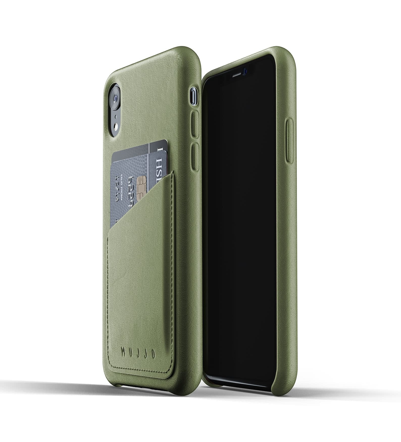 Full Leather Wallet Case for iPhone Xr Olive Thumbnail 03