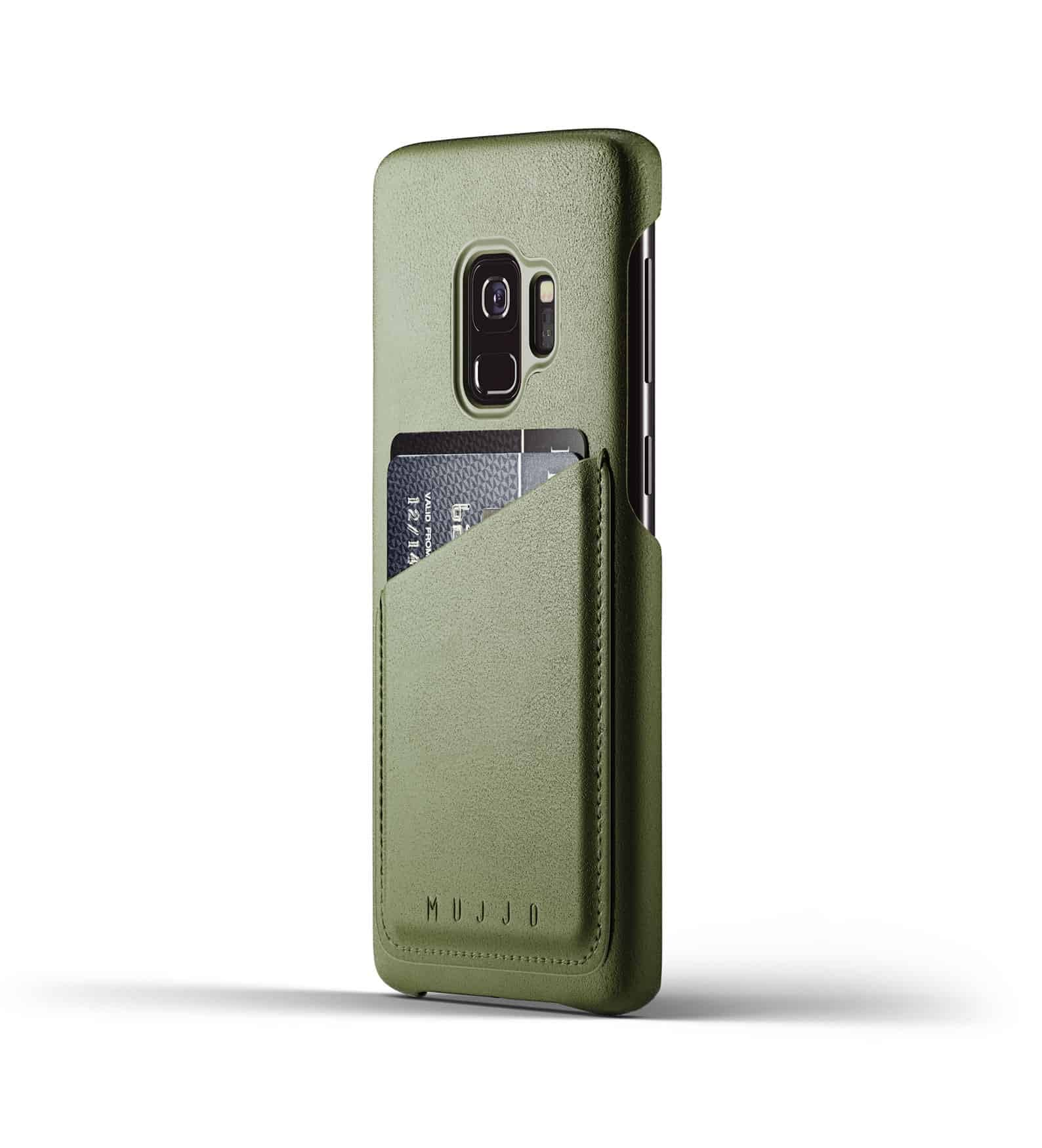 Full leather wallet case for Galaxy S9 Olive Thumbnail 01
