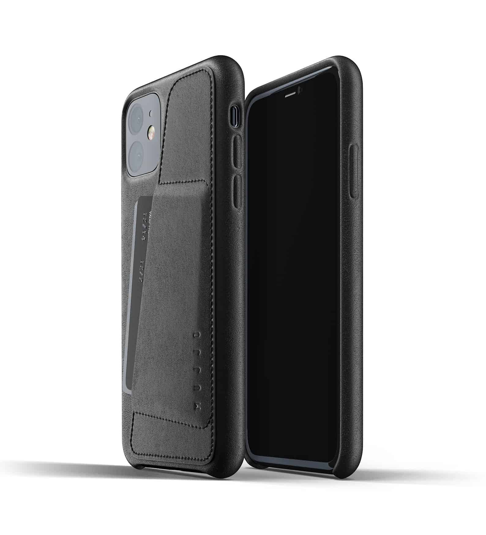 Full leather wallet case for iPhone 11 Black Thumbnail 01