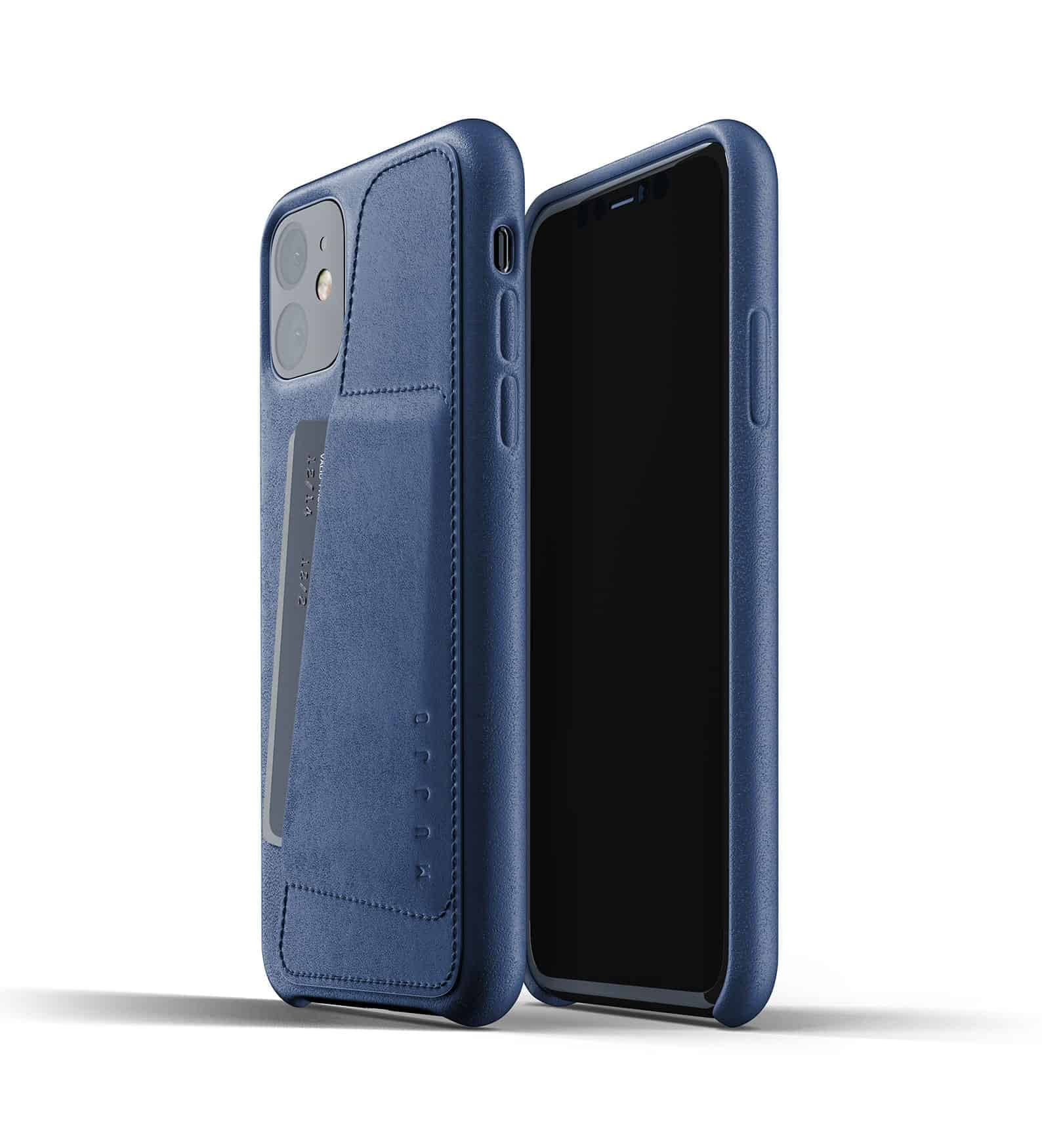 Full leather wallet case for iPhone 11 Blue Thumbnail 01