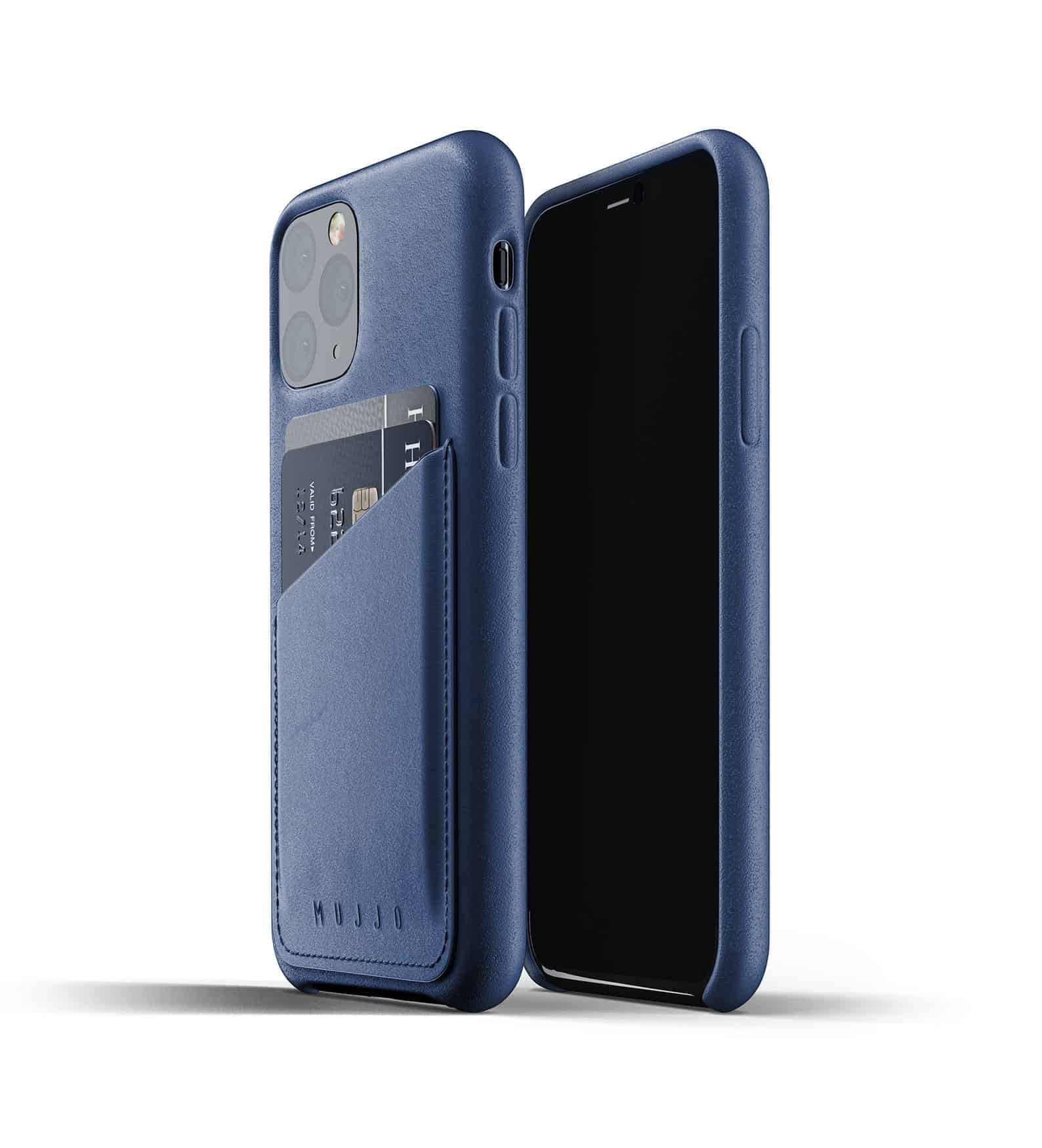 Full leather wallet case for iPhone 11 Pro Blue Thumbnail 01