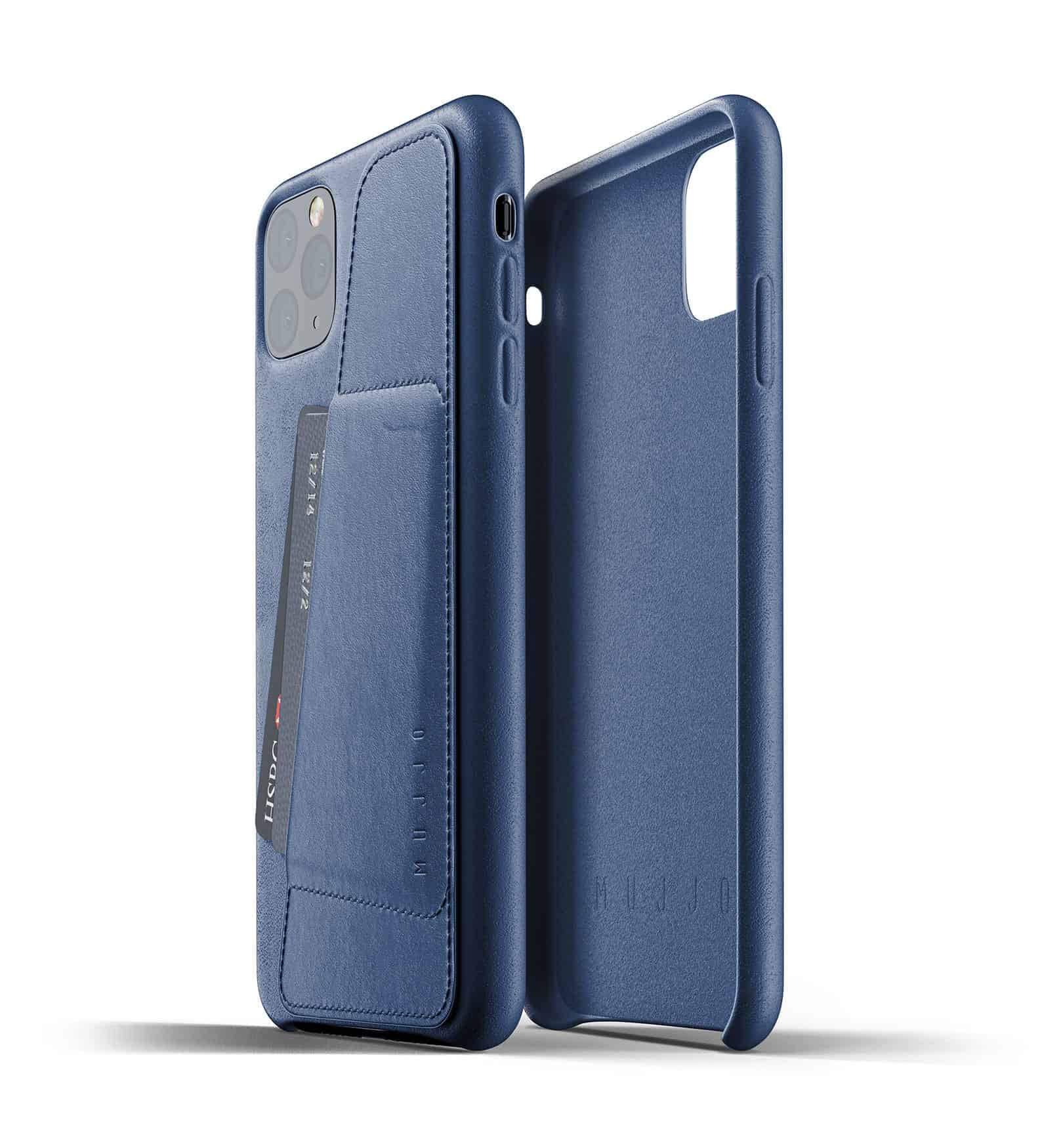 Full leather wallet case for iPhone 11 Pro Max Blue Thumbnail 02