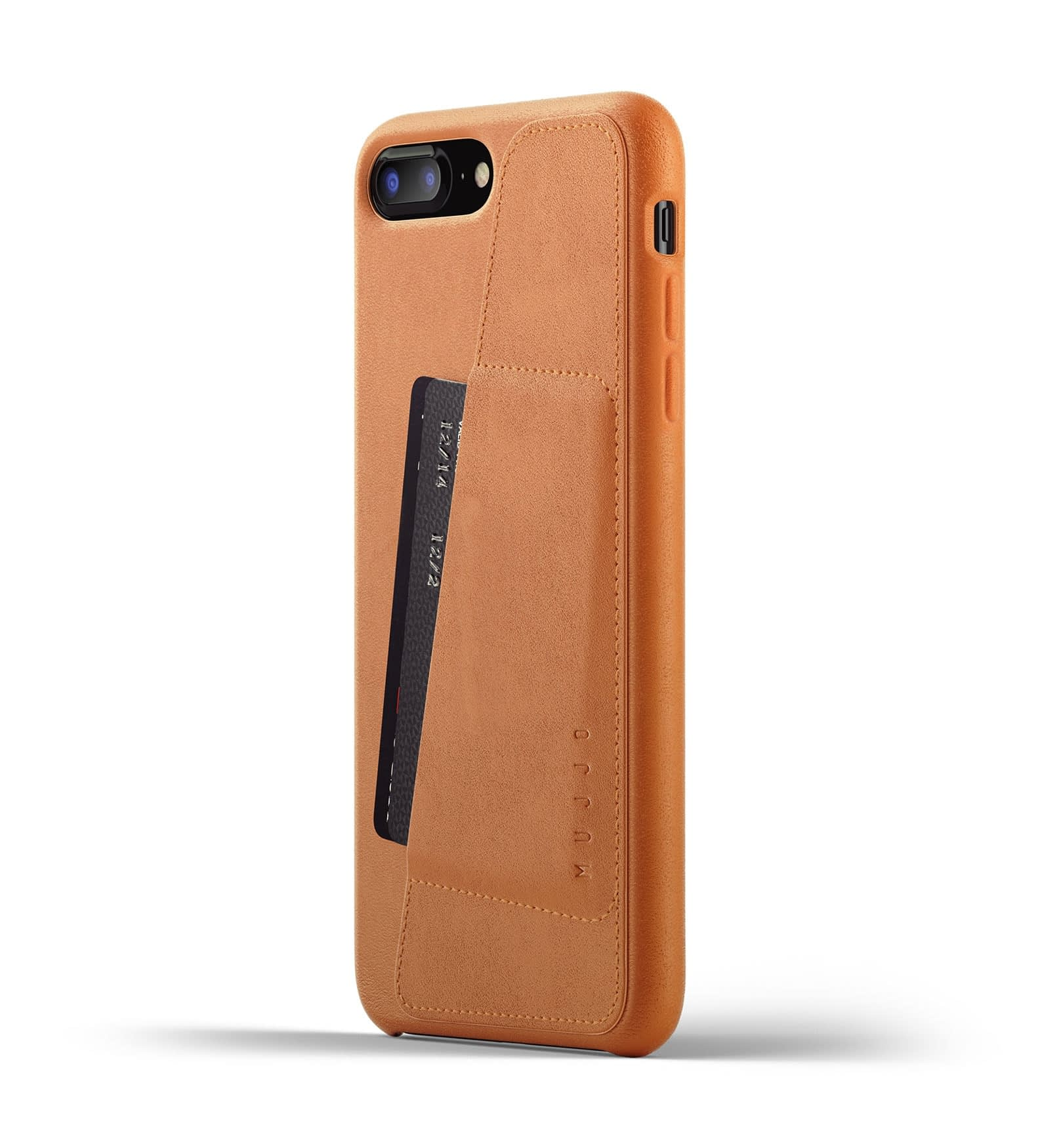 Full leather wallet case for iPhone 8 Plus Tan Thumbnail 01