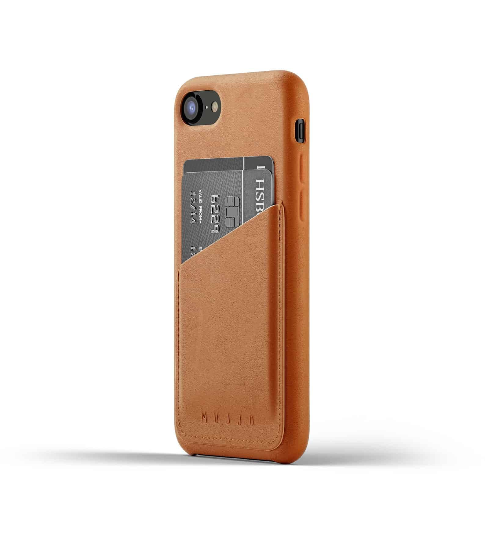 Full leather wallet case for iPhone 8 Tan Thumbnail 01