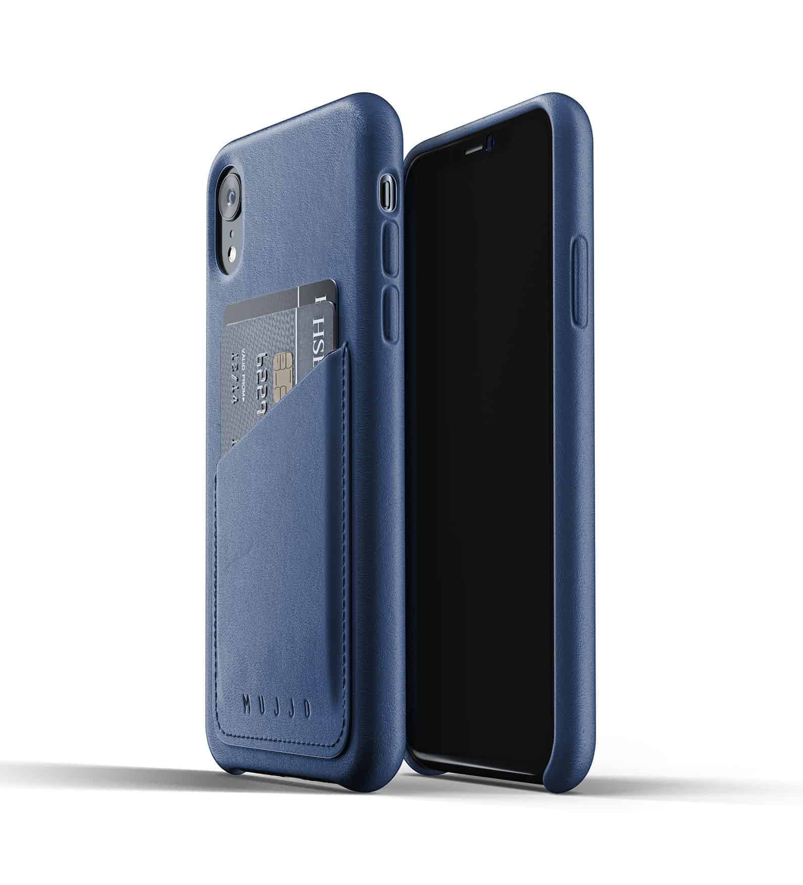 Full leather wallet case for iPhone Xr Blue Thumbnail 01