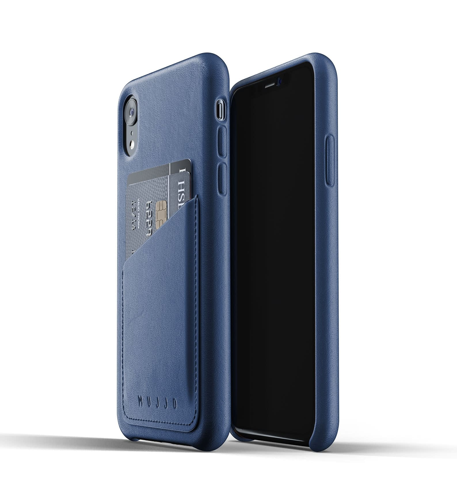 Full leather wallet case for iPhone Xr Blue Thumbnail 03