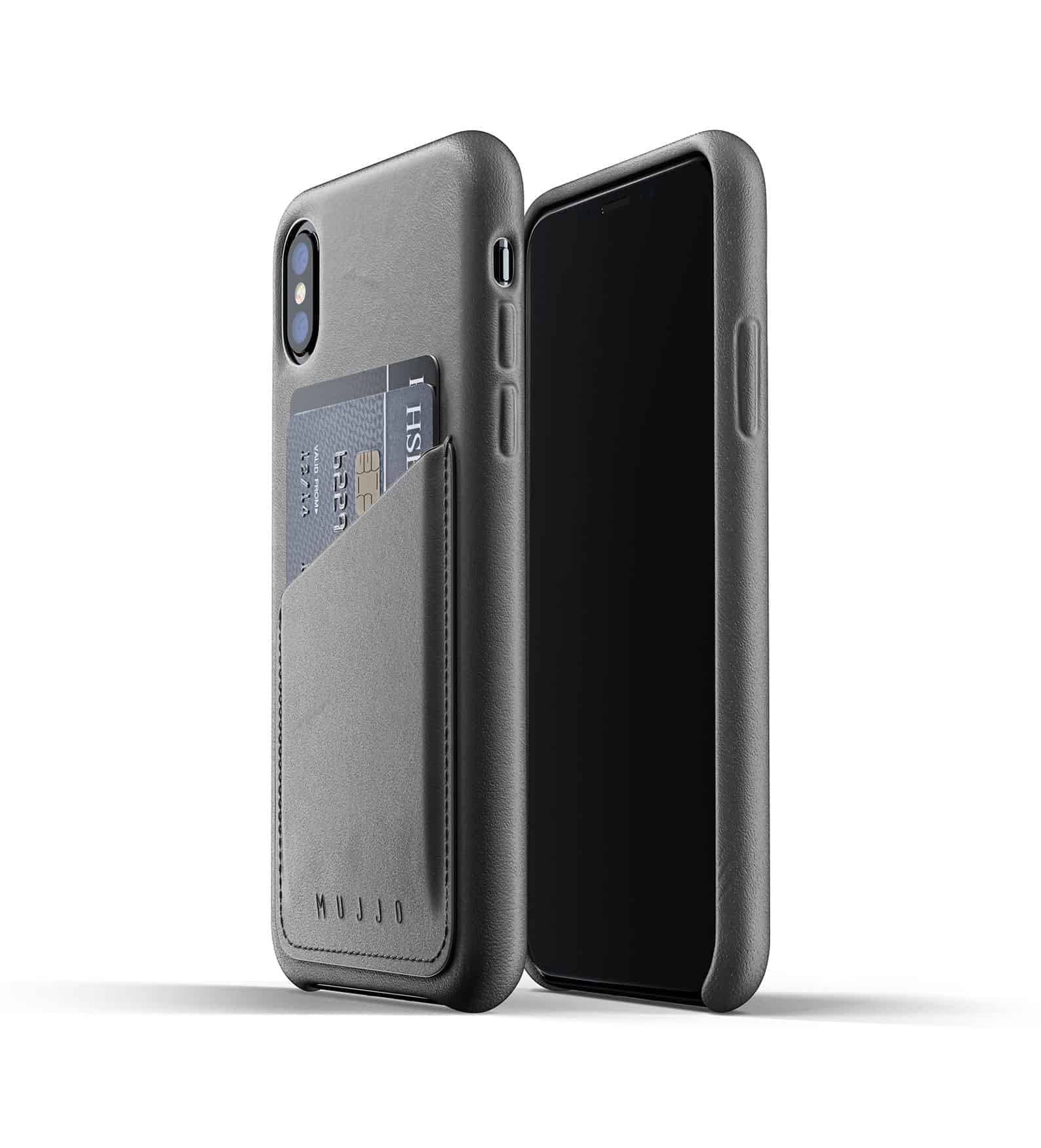 Full leather wallet case for iPhone Xs Gray Thumbnail 01