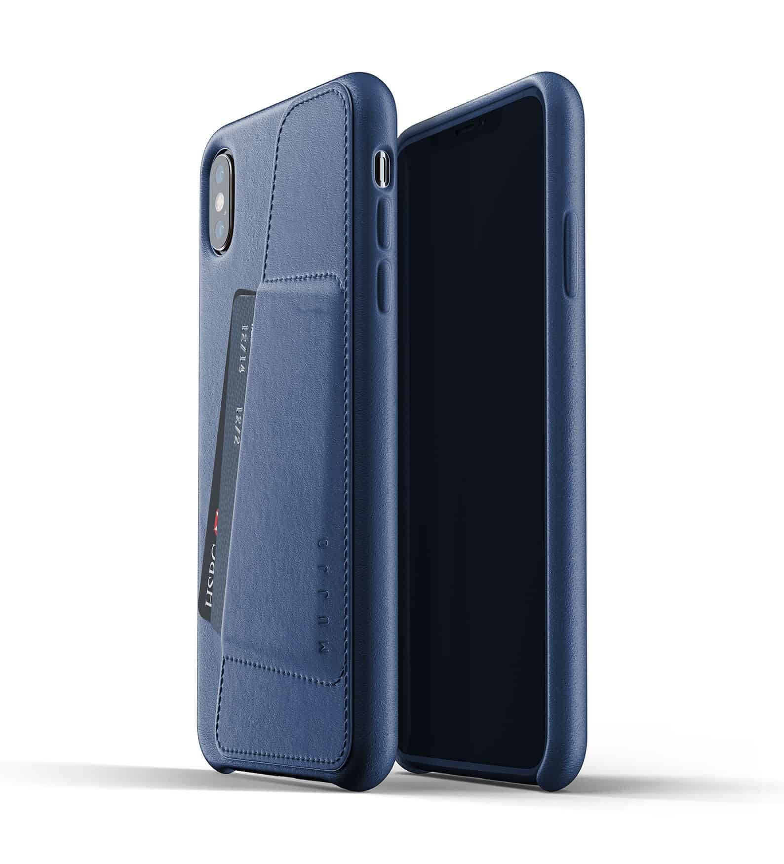 Full leather wallet case for iPhone Xs Max Blue Thumbnail 01