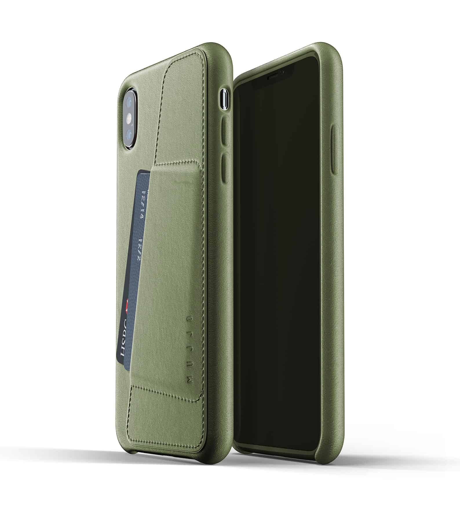 Full leather wallet case for iPhone Xs Max Olive Thumbnail 01