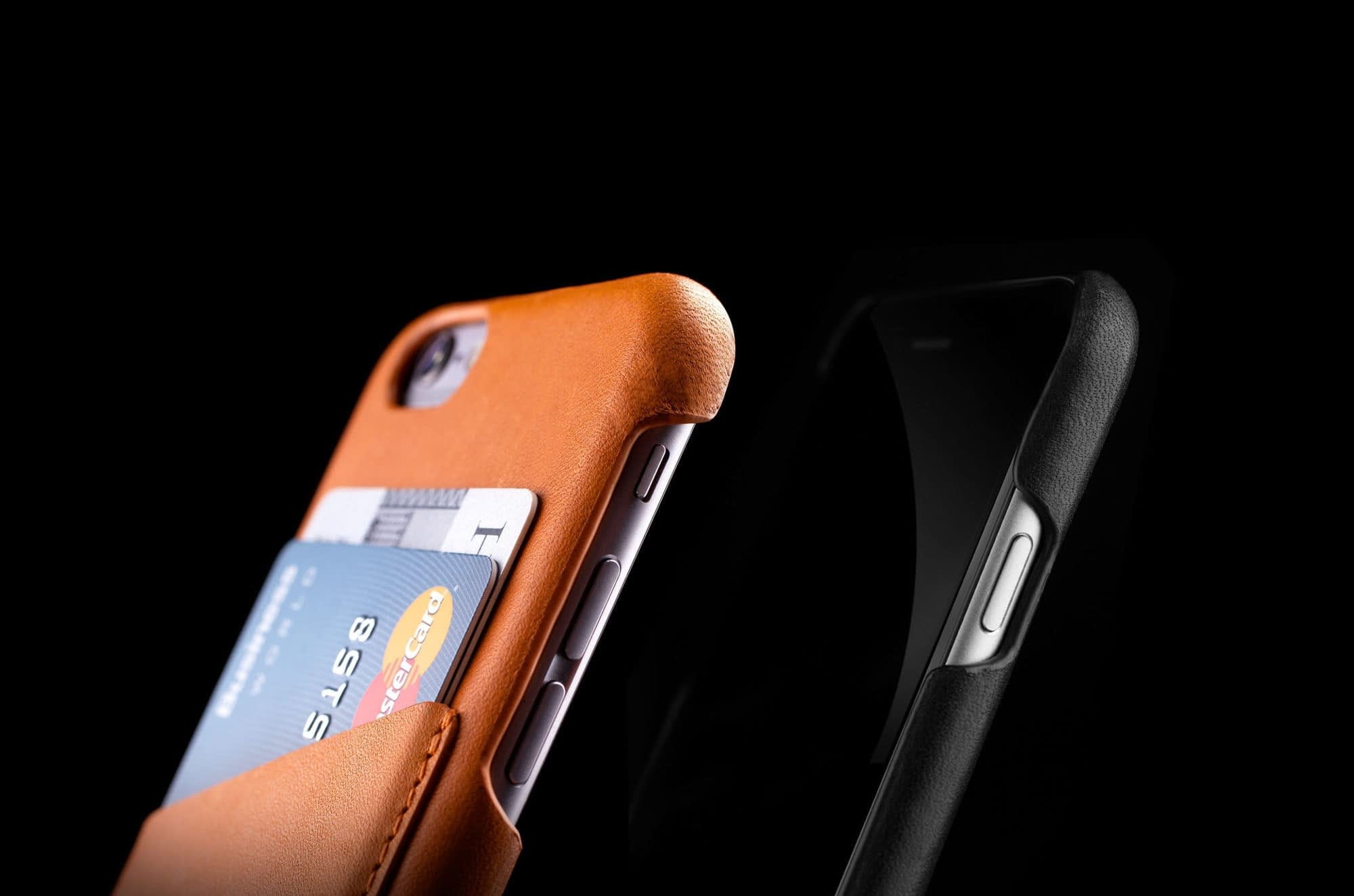 Header Leather Wallet Case for iPhone 6 Black Tan Lifestyle 010