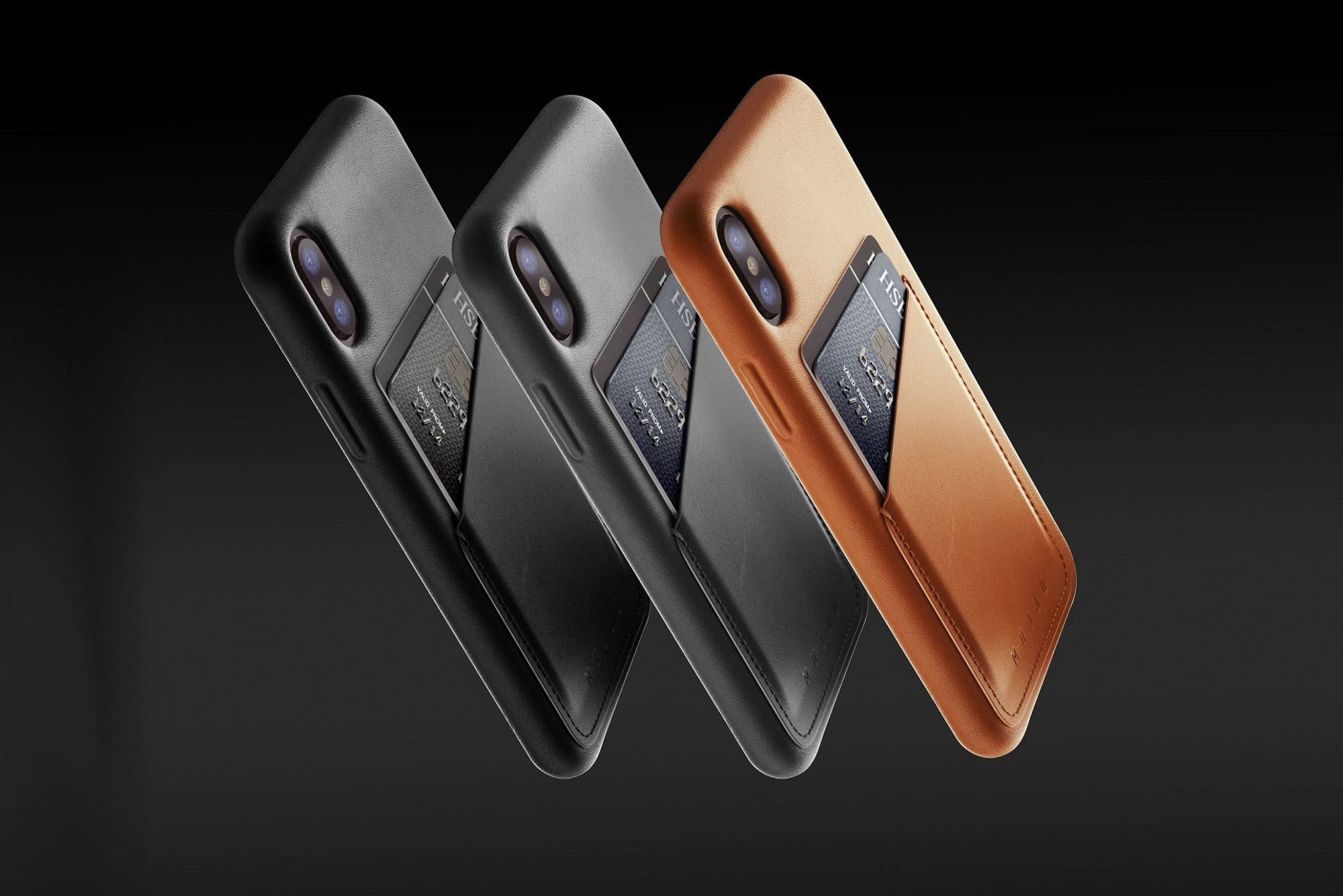 Full leather wallet case for iPhone X Black Line up 02