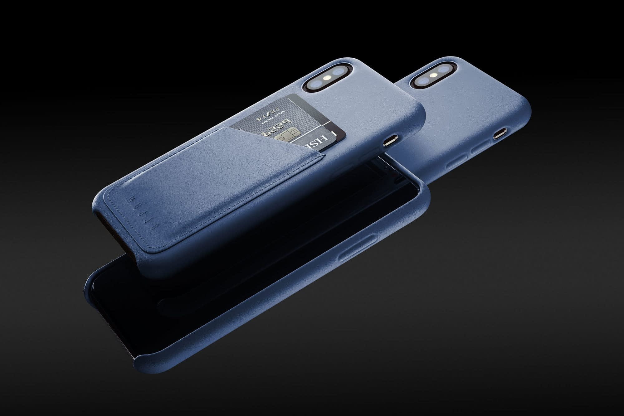 Full leather wallet case for iPhone Xs Blue 01