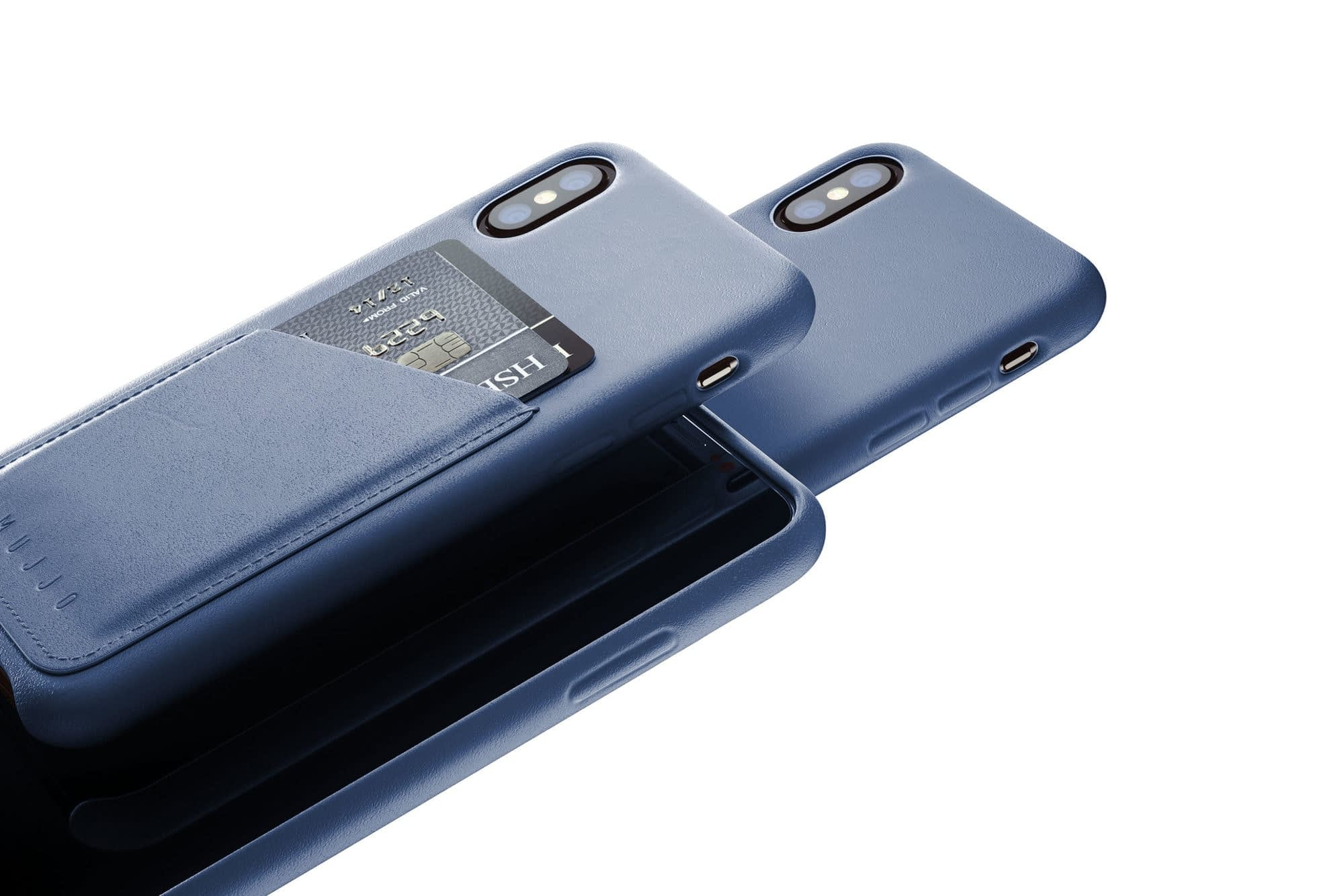 Full leather wallet case for iPhone Xs Blue 02 1