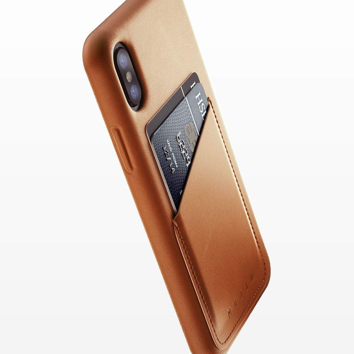 Full leather wallet case for iPhone X Tan 01