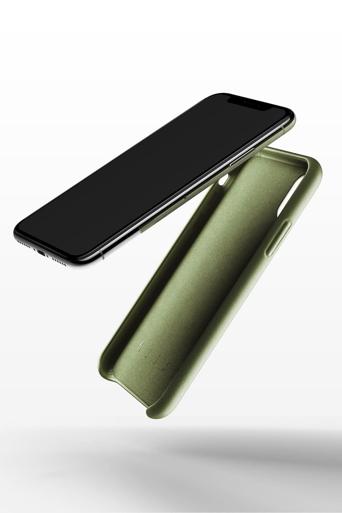 Full leather case for iPhone X Olive 03