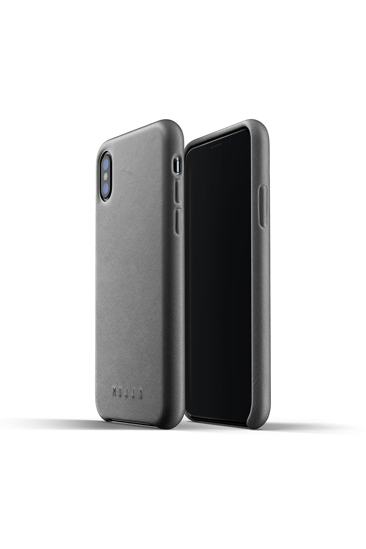 Full leather case for iPhone Xs Gray Packshot 01