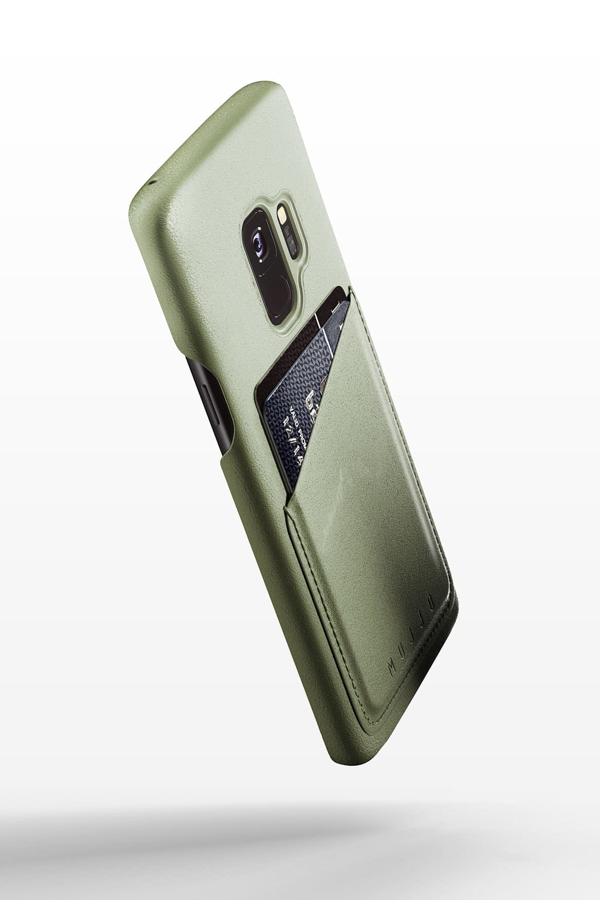 Full leather wallet case for Galaxy S9 Olive 01 1