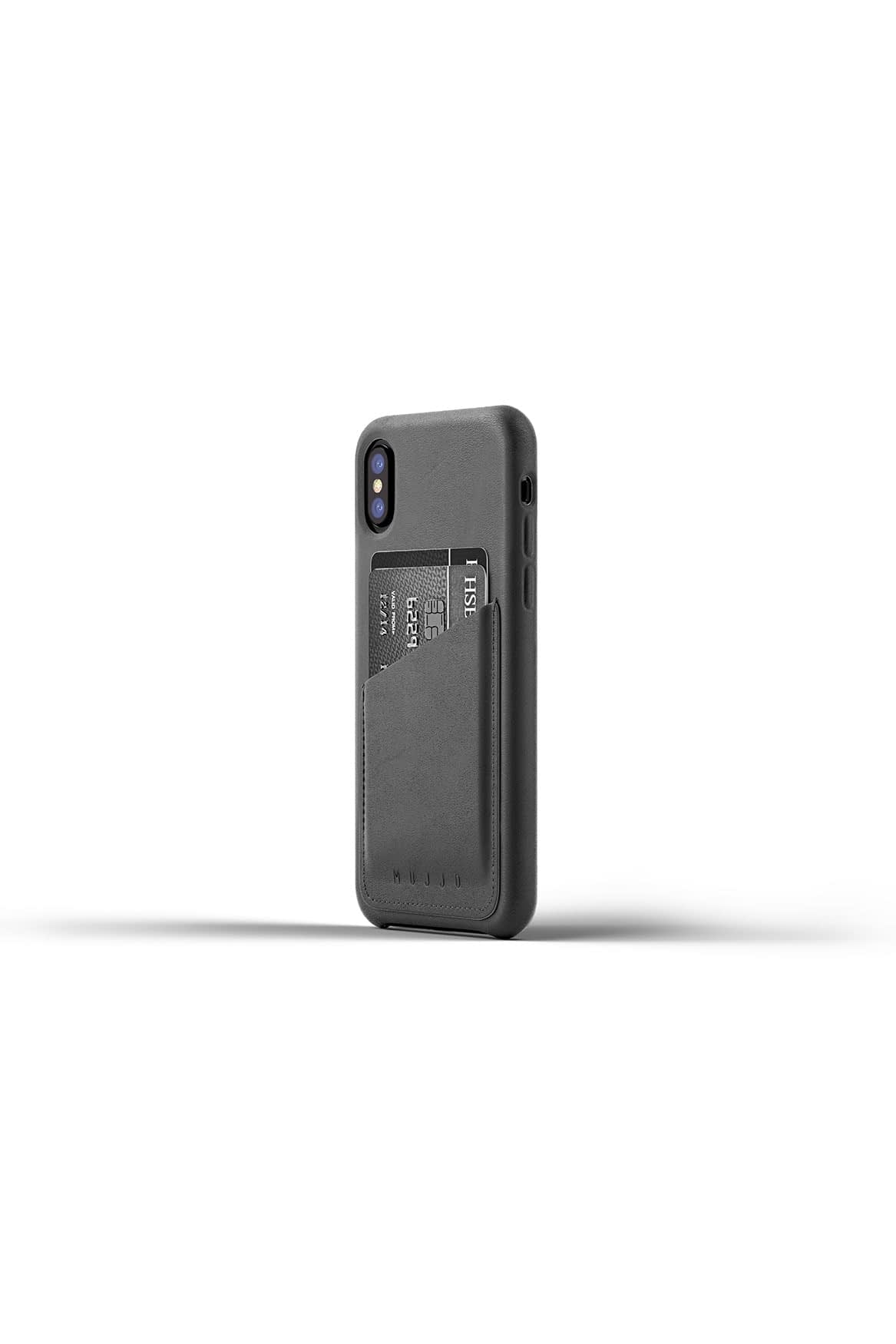 Full leather wallet case for iPhone X Gray Packshot 01
