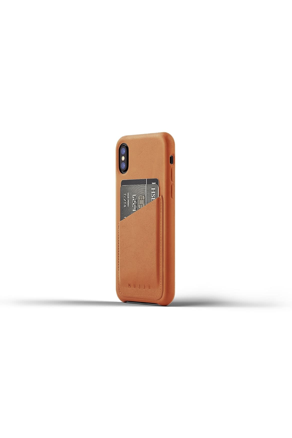 Full leather wallet case for iPhone X Tan Packshot 01