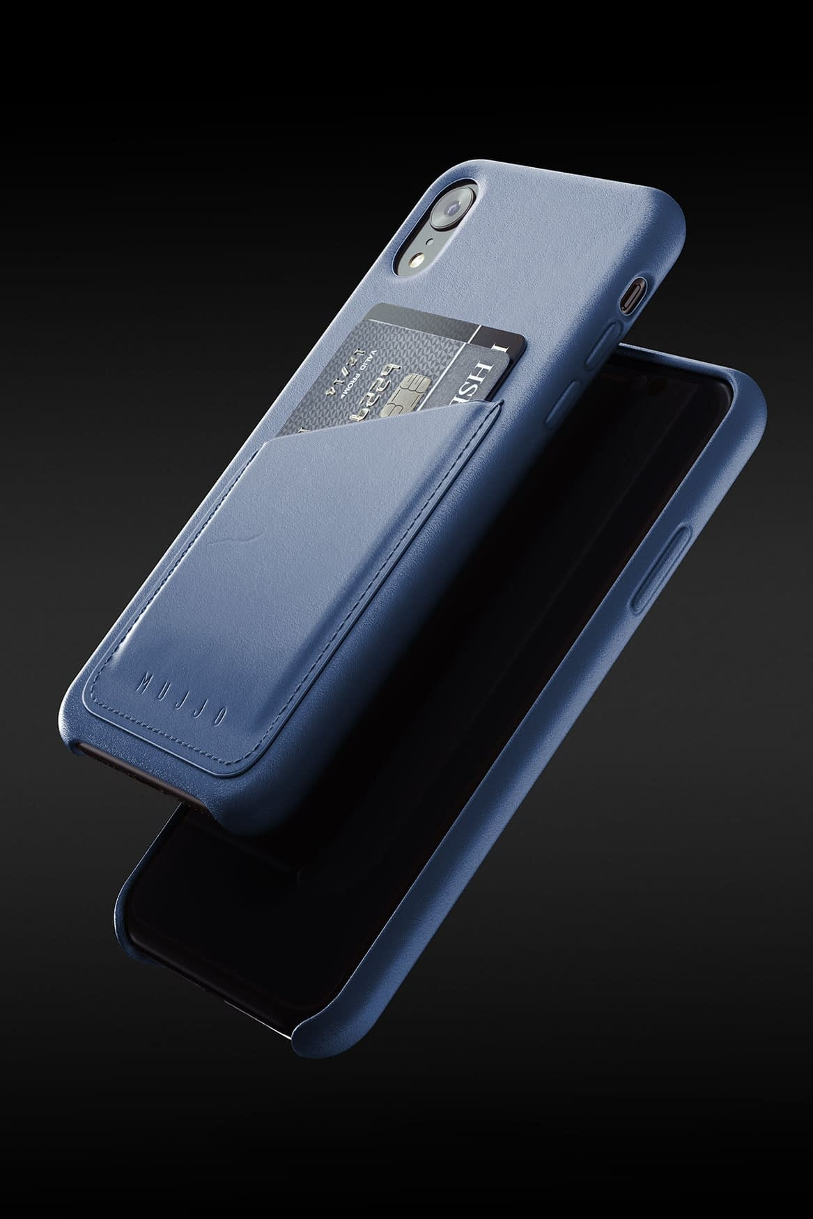 Full leather wallet case for iPhone Xr Blue 08