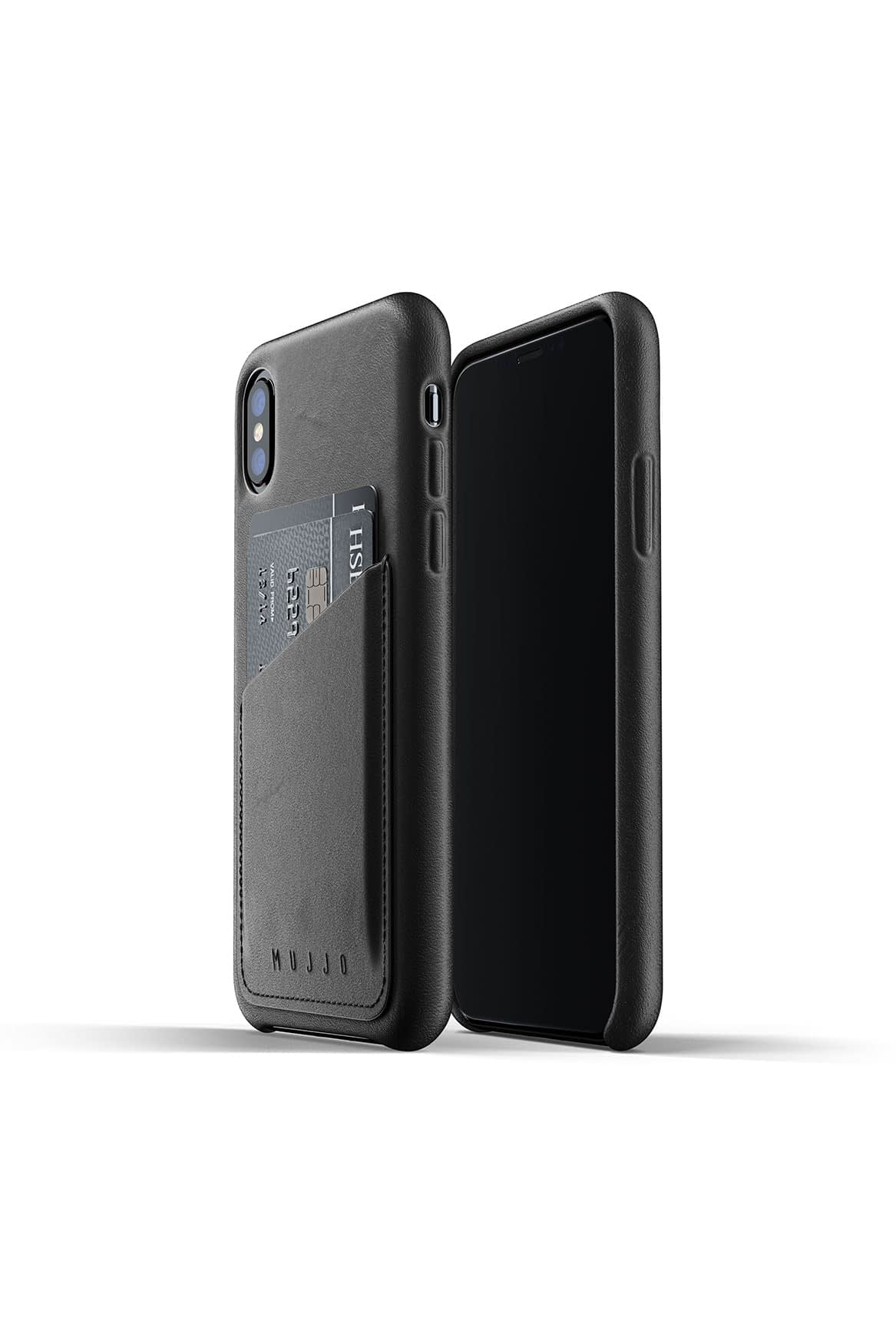 Full leather wallet case for iPhone Xs Black Packshot 01