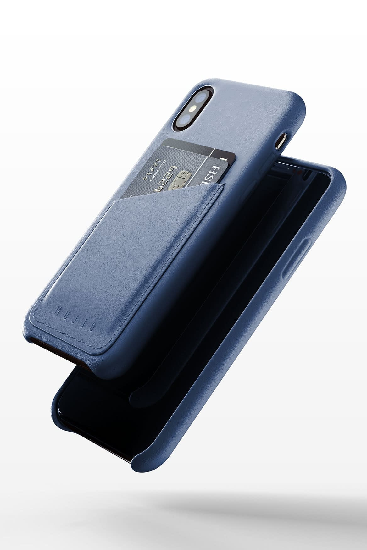 Full leather wallet case for iPhone Xs Blue 03