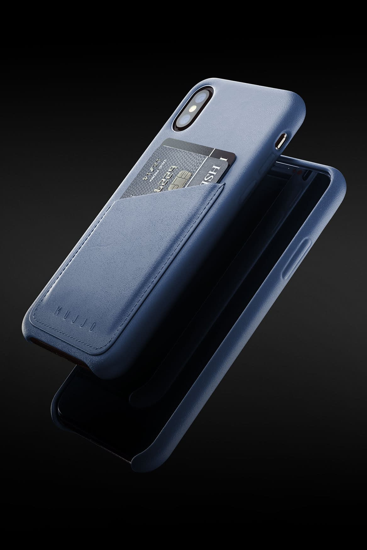 Full leather wallet case for iPhone Xs Blue 08