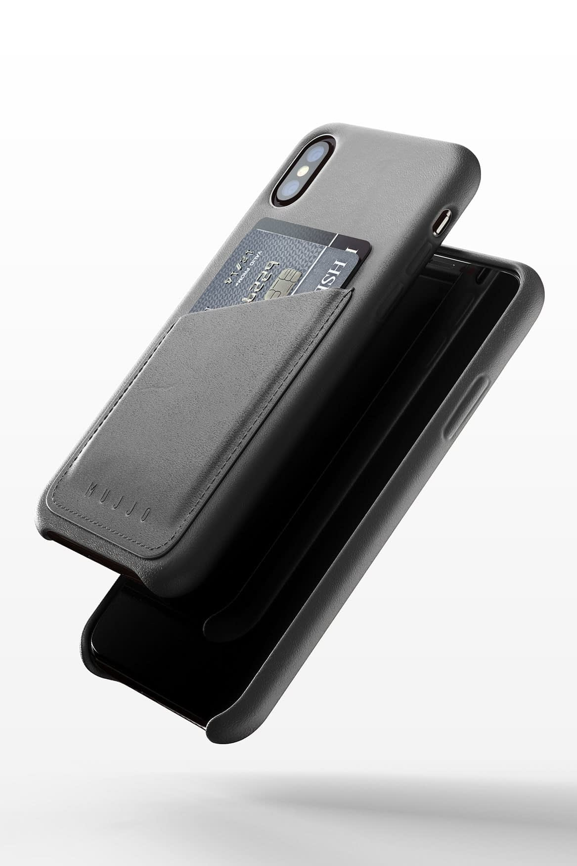 Full leather wallet case for iPhone Xs Gray 03