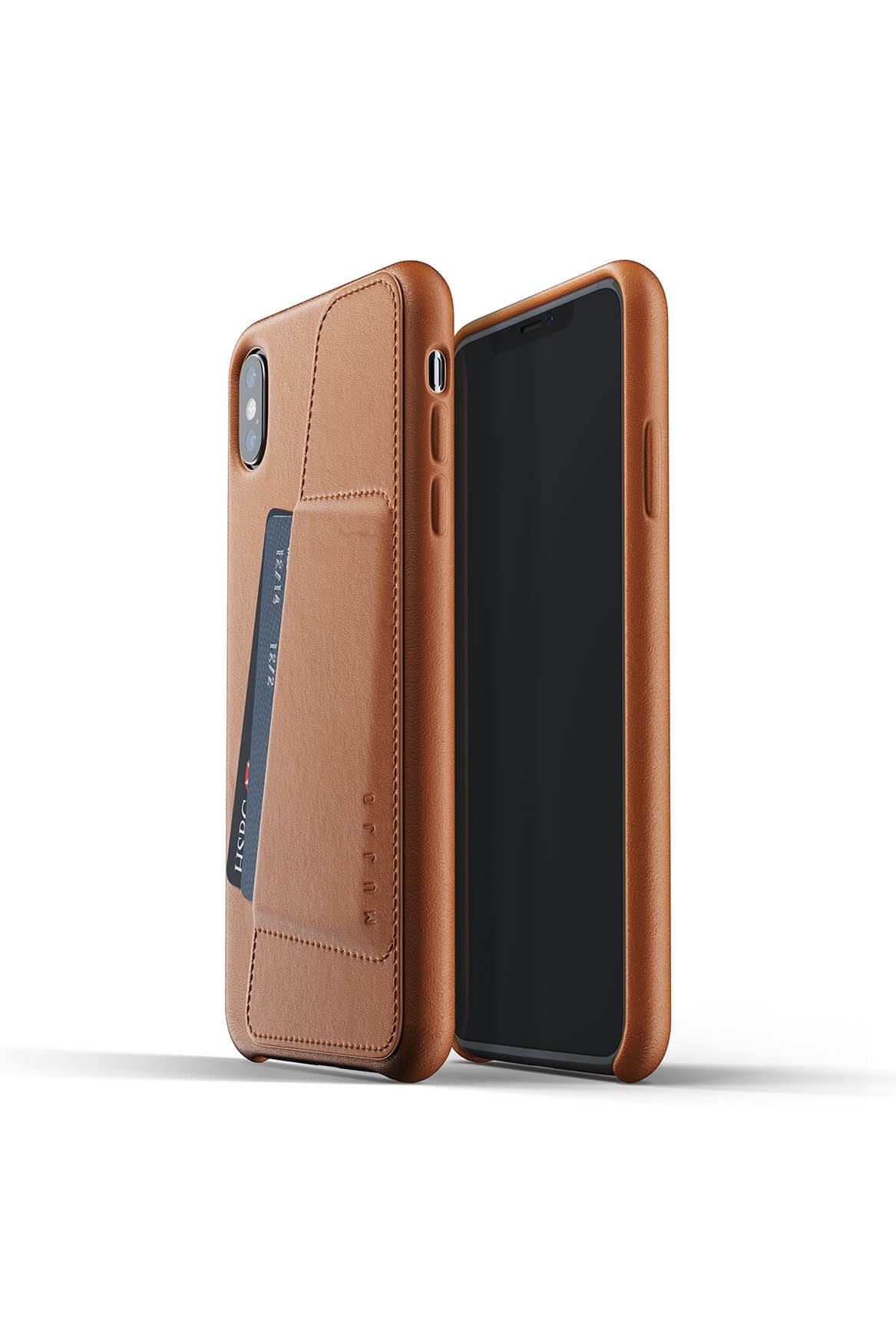 Full leather wallet case for iPhone Xs Max Tan Packshot 01
