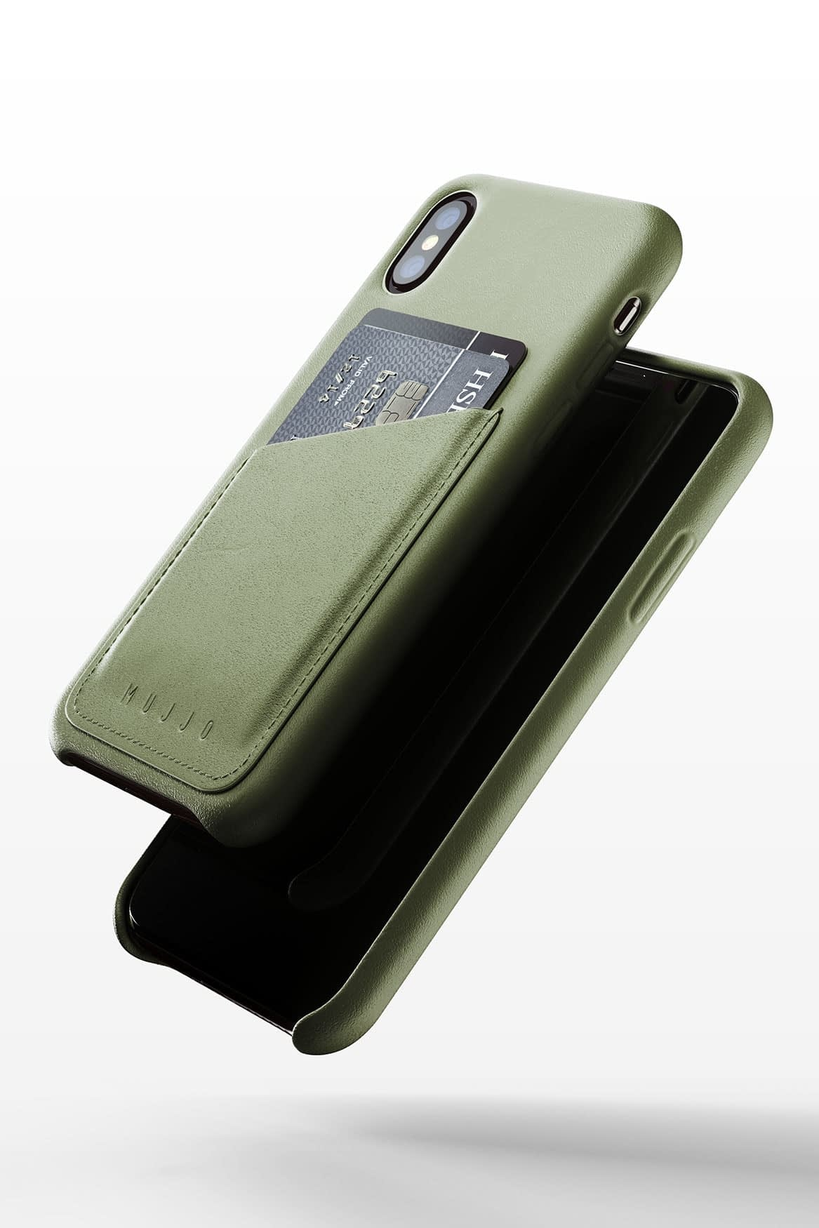 Full leather wallet case for iPhone Xs Olive 03 1