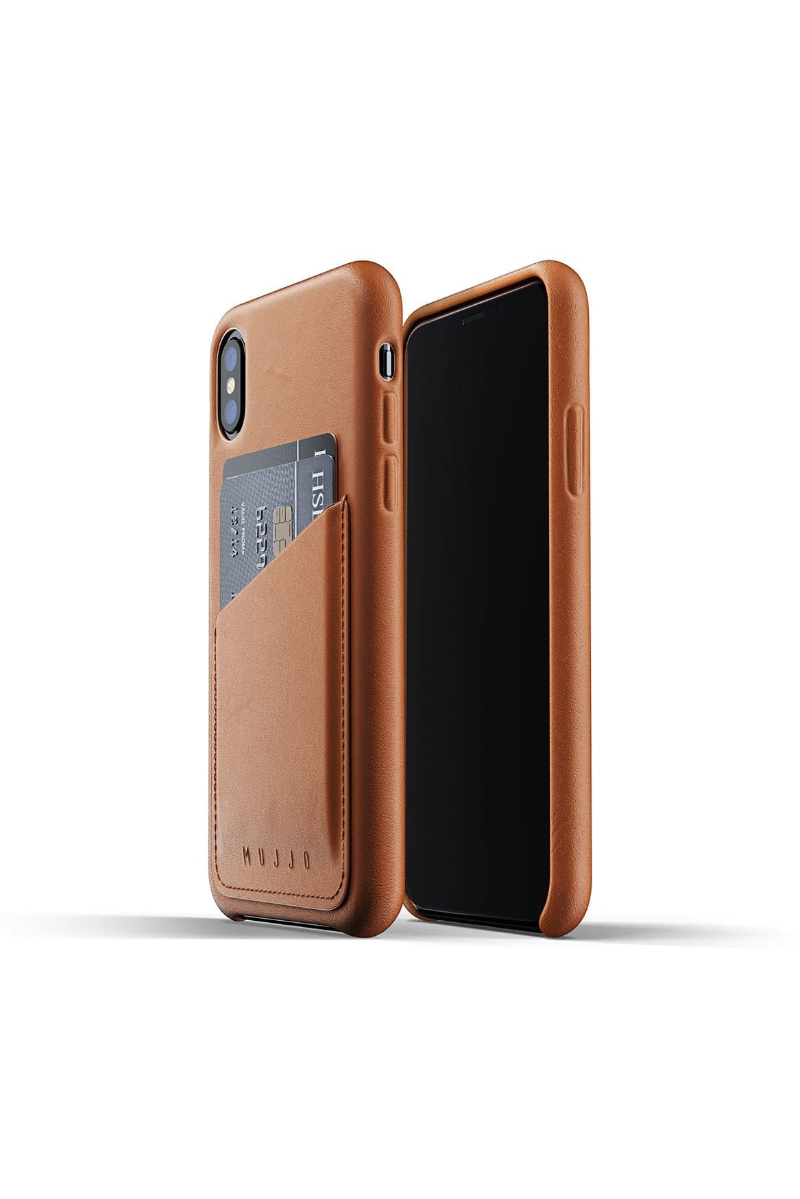 Full leather wallet case for iPhone Xs Tan Packshot 01