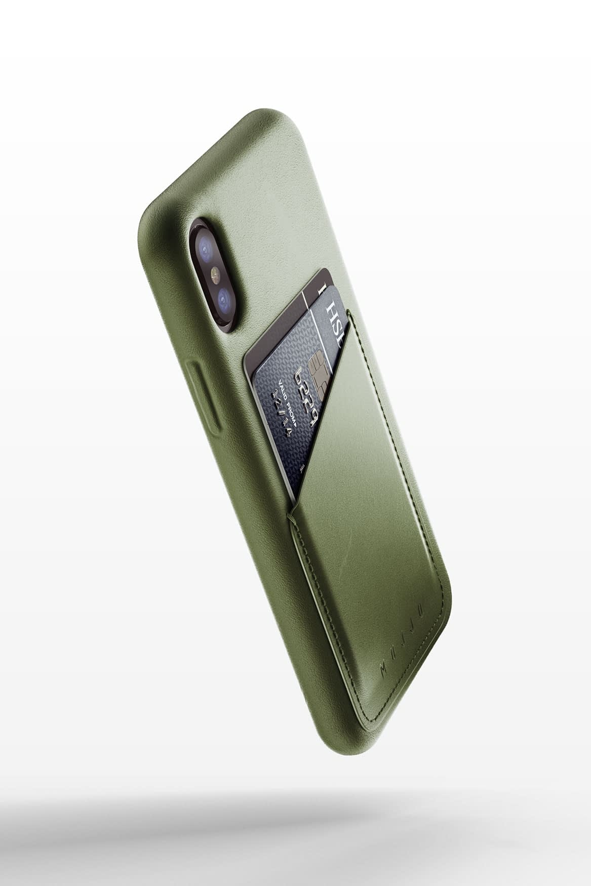Full leather wallet case for iphone x Olive 02