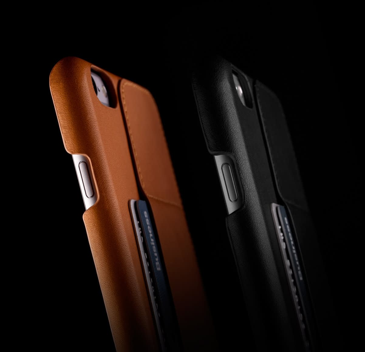 Leather Wallet Case 80° for iPhone 6 Plus Tan and Black