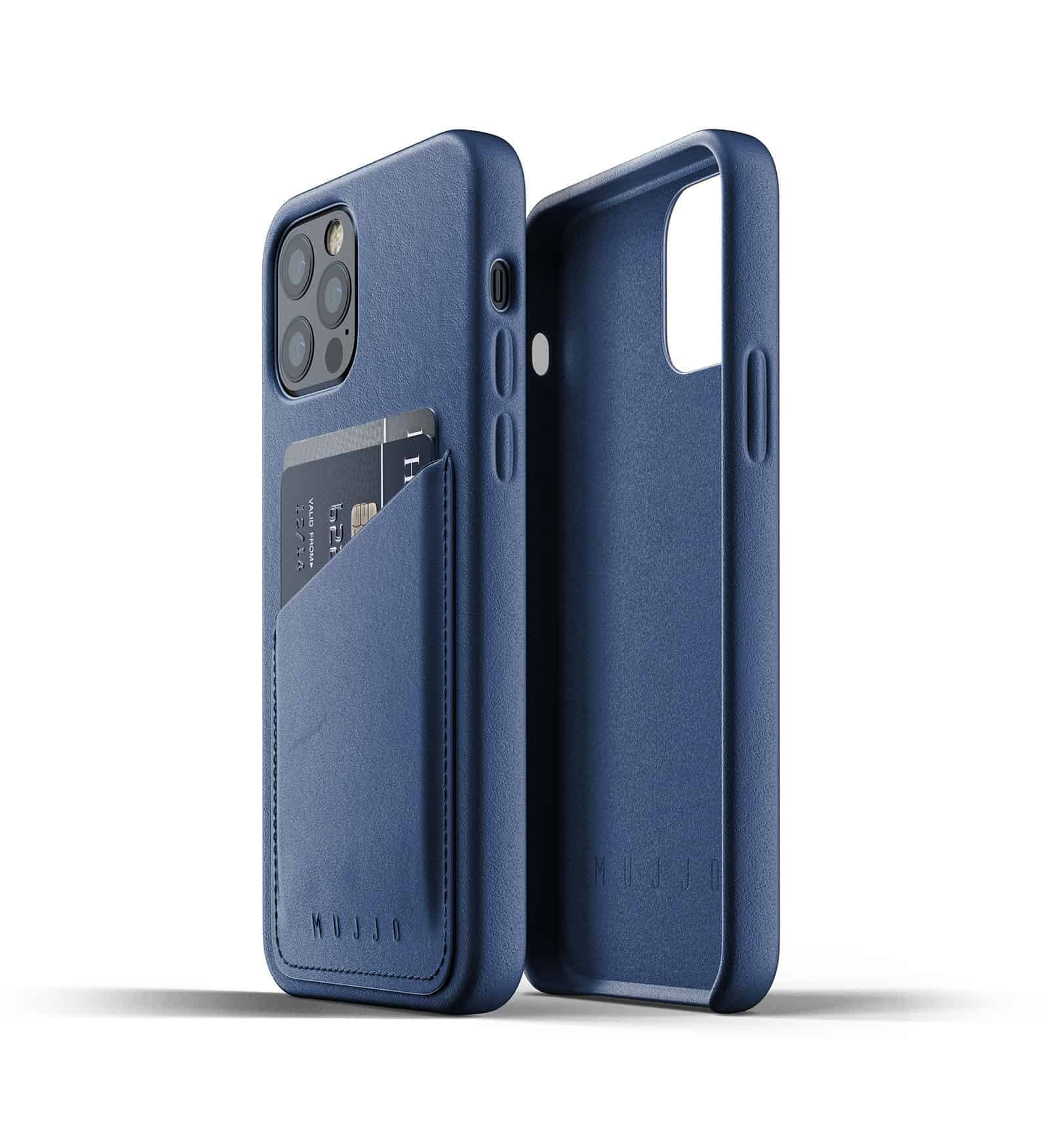 Full Leather Wallet Case for iPhone 12 Pro Monaco Blue Thumbnail 02