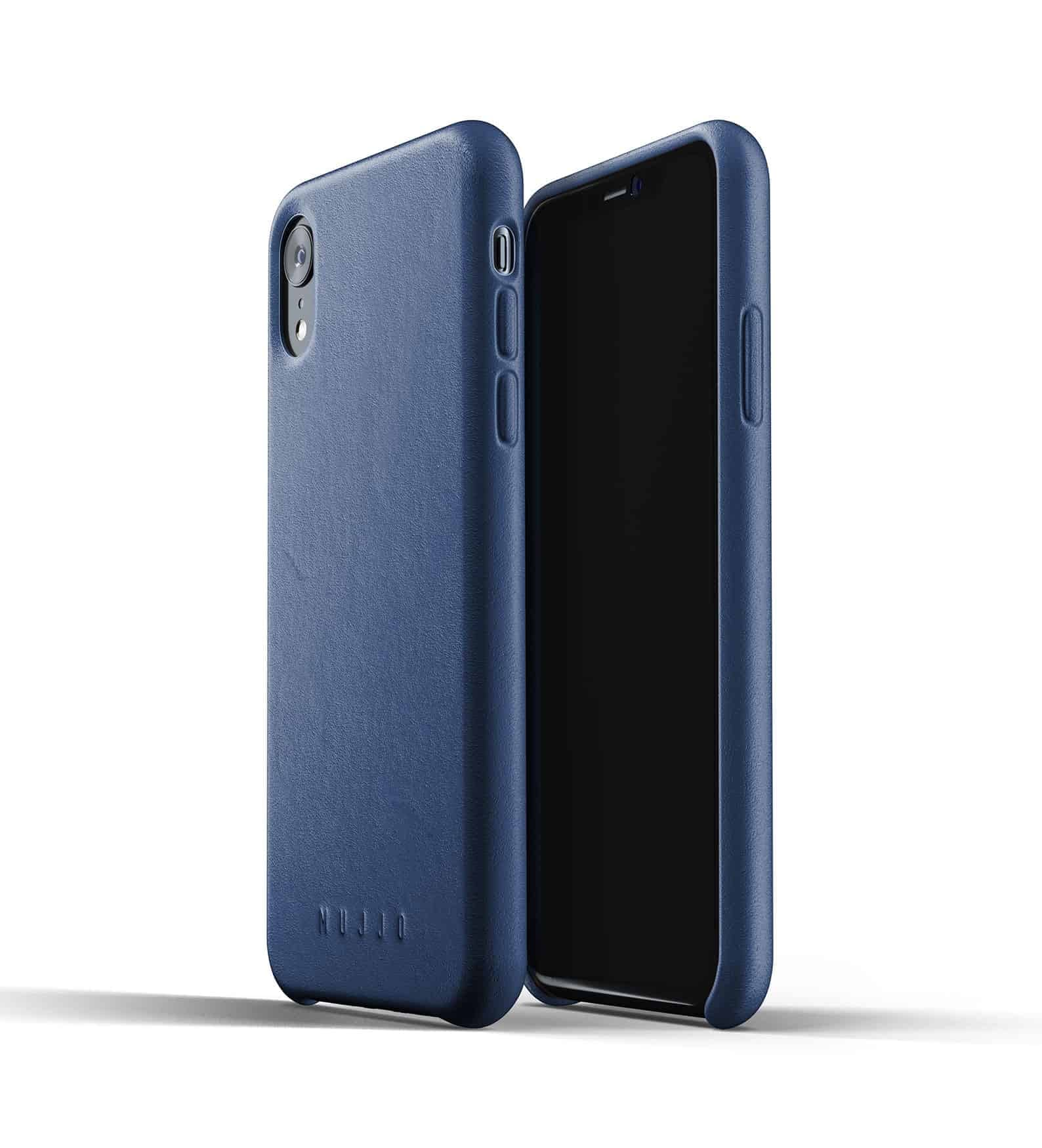 Full leather case for iPhone Xr Blue Thumbnail 01