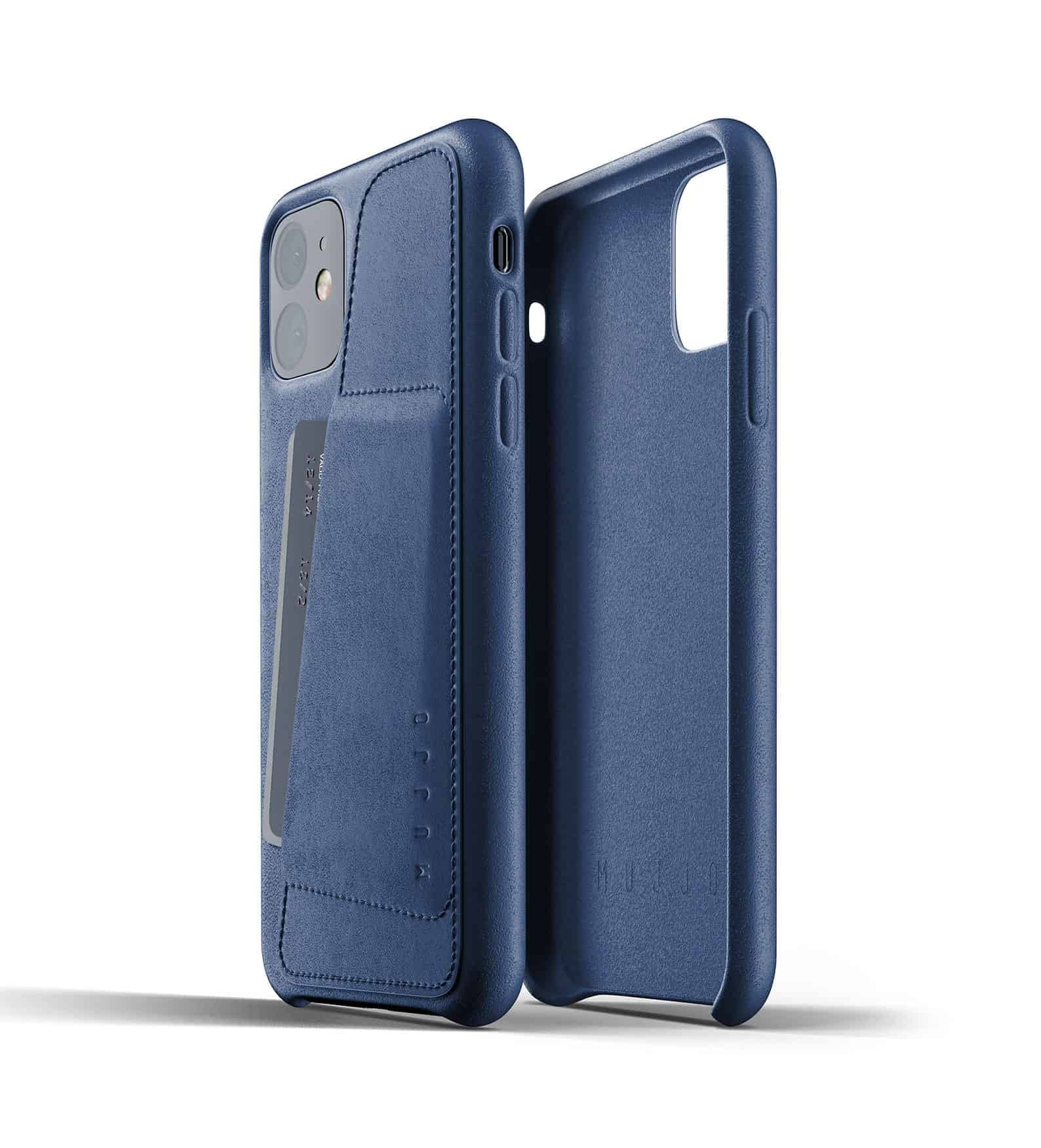 Full leather wallet case for iPhone 11 Blue Thumbnail 02