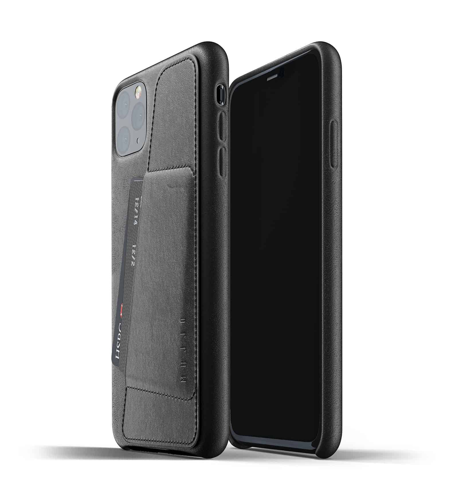 Full leather wallet case for iPhone 11 Pro Max Black Thumbnail 01