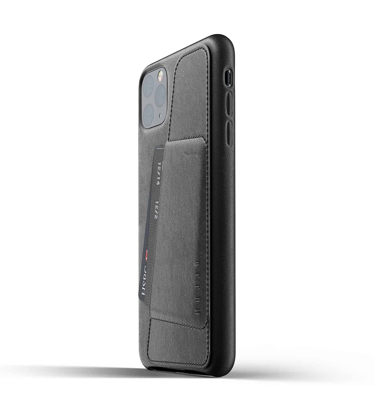 Full leather wallet case for iPhone 11 Pro Max Black Thumbnail 03