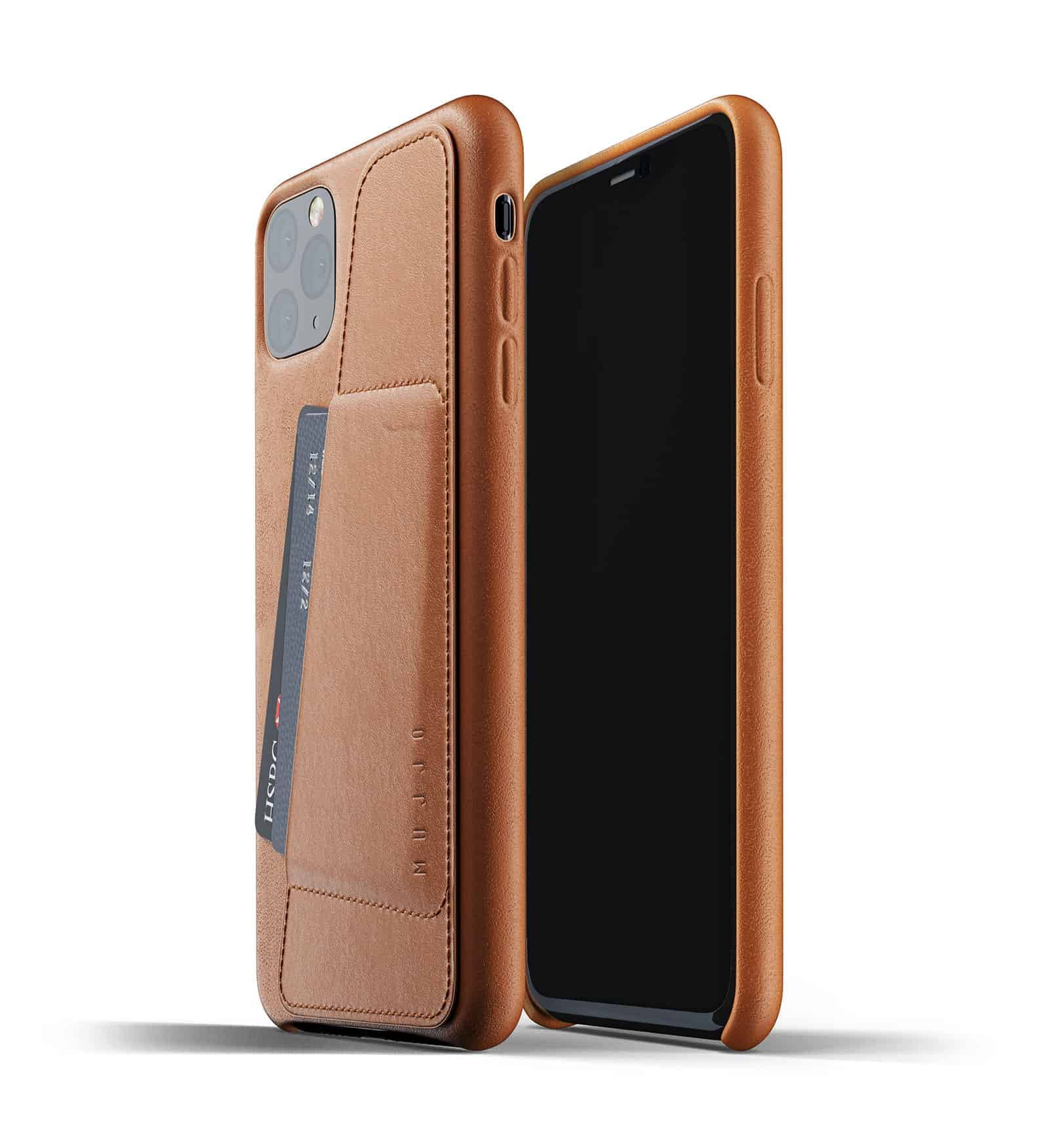 Full leather wallet case for iPhone 11 Pro Max Tan Thumbnail 01