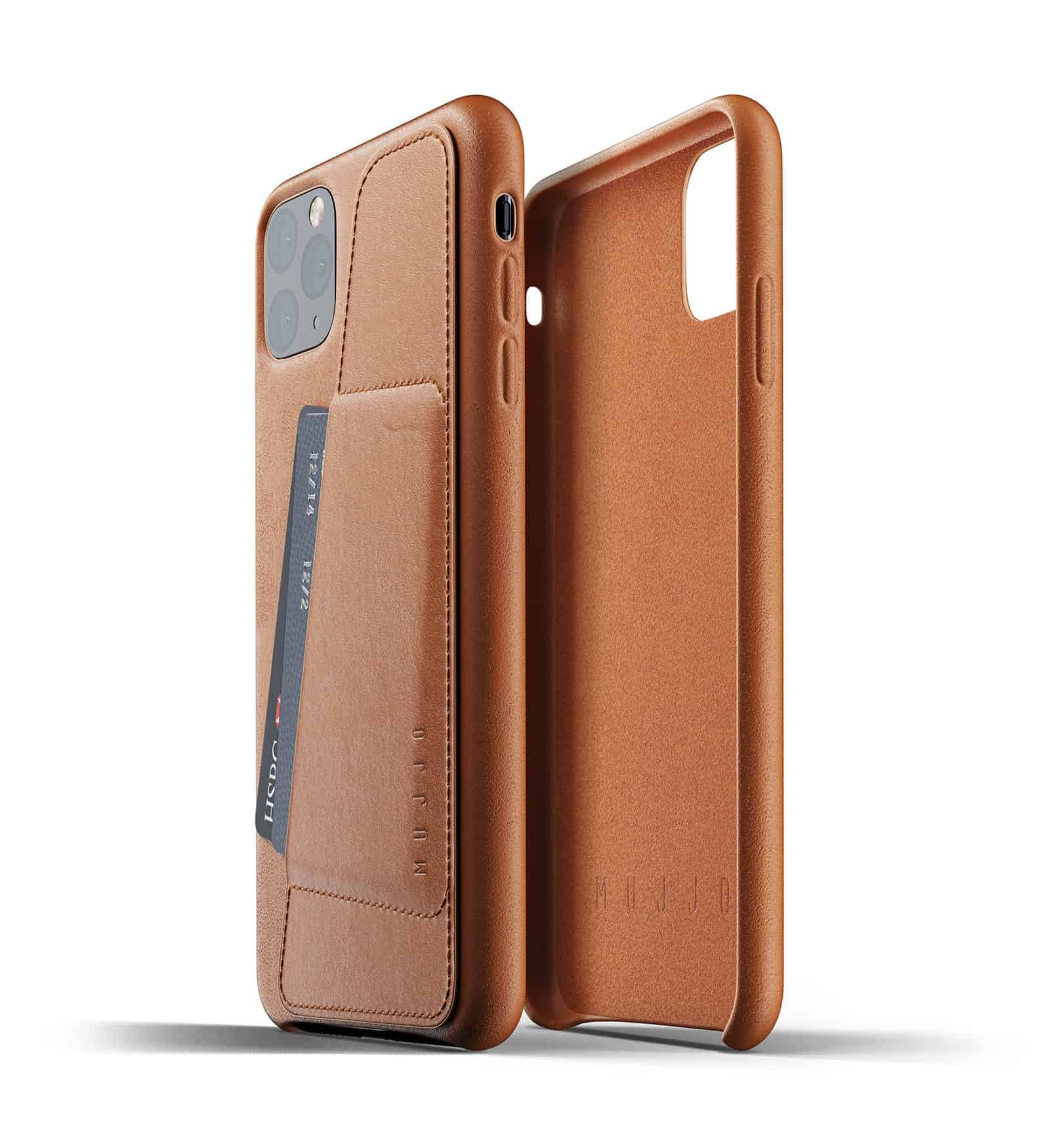 Full leather wallet case for iPhone 11 Pro Max Tan Thumbnail 02