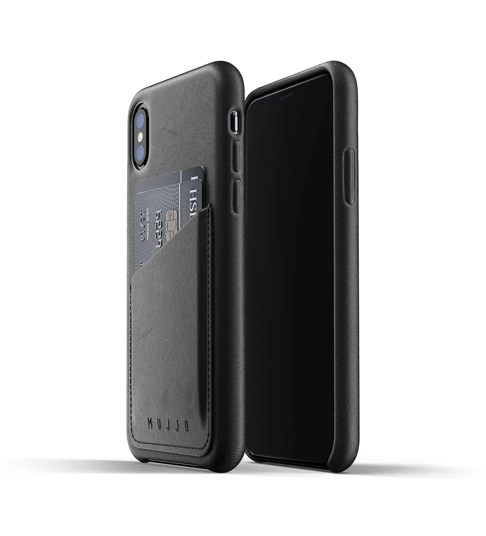 Full leather wallet case for iPhone Xs Black Thumbnail 01