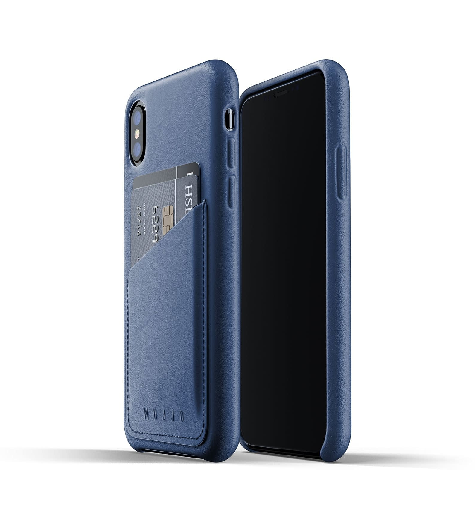 Full leather wallet case for iPhone Xs Blue Thumbnail 01