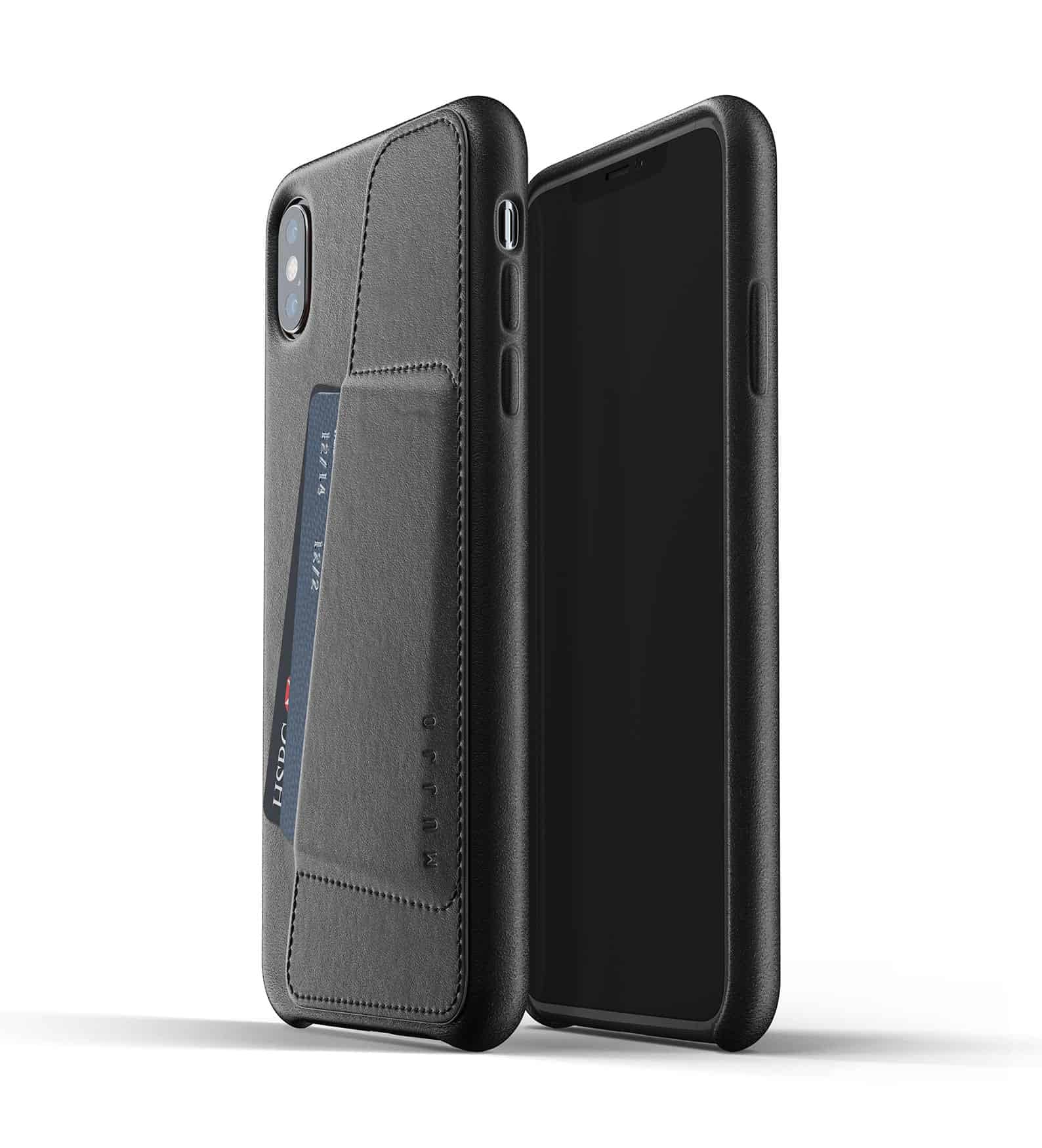 Full leather wallet case for iPhone Xs Max Black Thumbnail 01